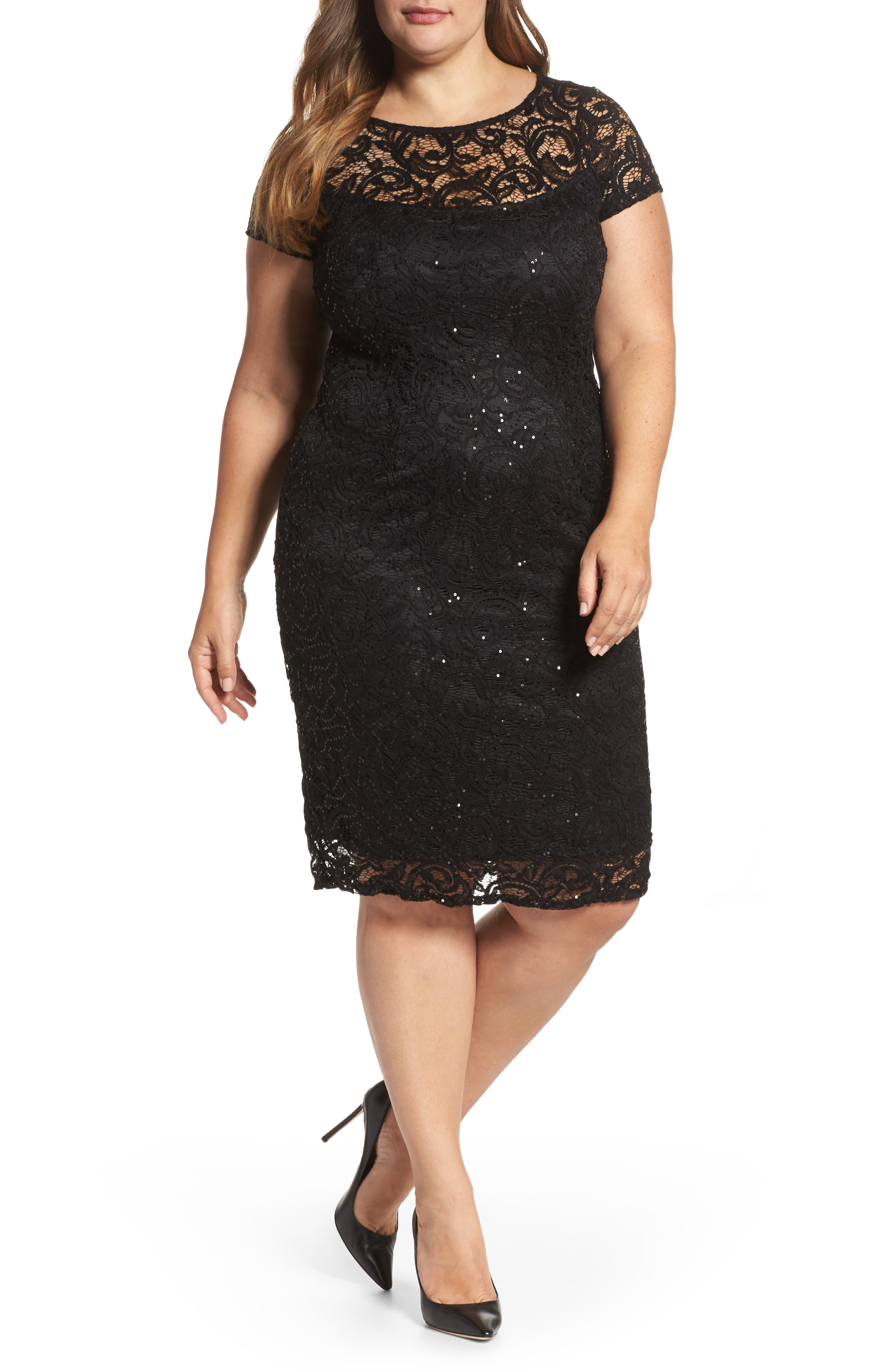Main Image - Marina Sequin Lace Sheath Dress (Plus Size)