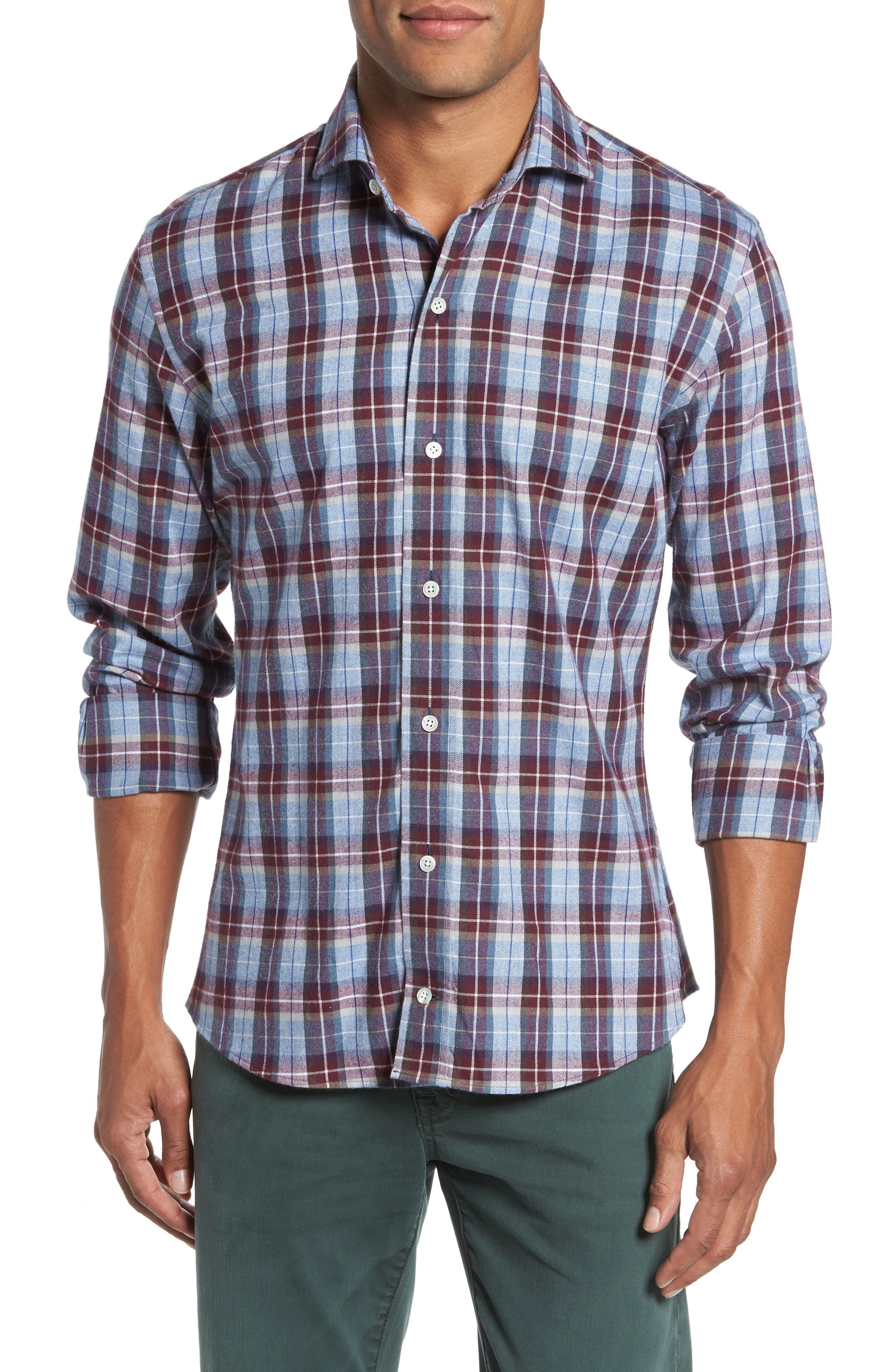 Classic Fit Currant Plaid Sport Shirt,                         Main,                         color, Currant