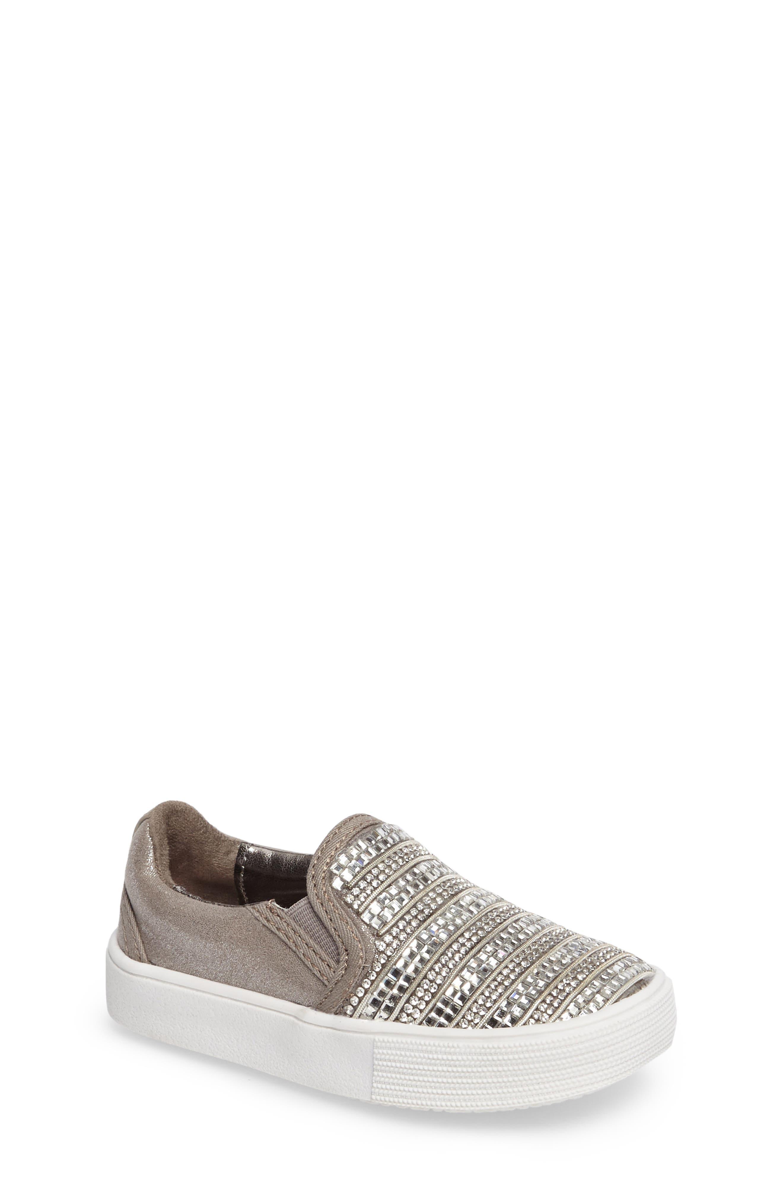 Main Image - Stuart Weitzman Vance Glitz Embellished Slip-On Sneaker (Walker & Toddler)