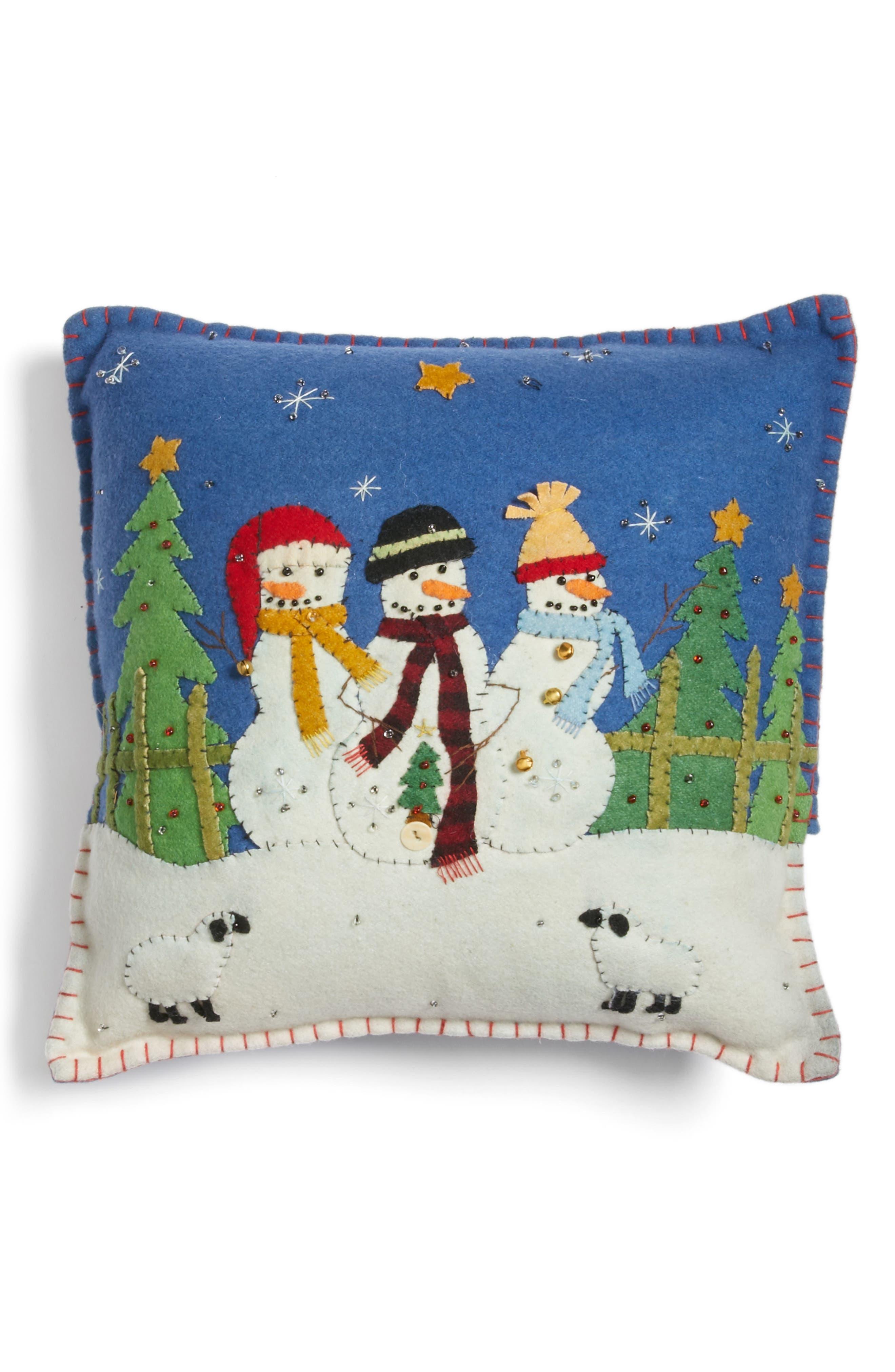 Alternate Image 1 Selected - New World Arts Snowmen Pillow