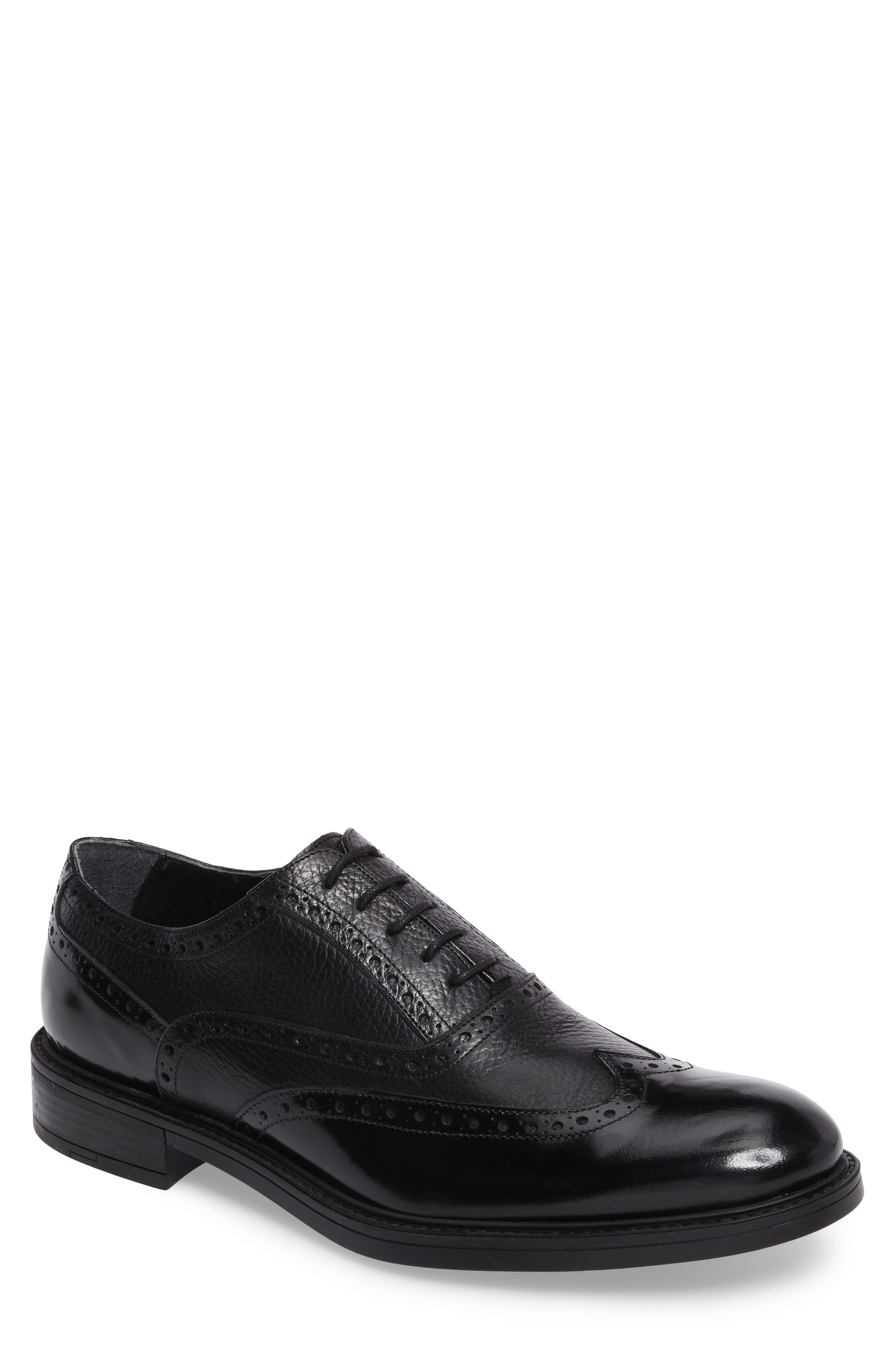 Wingtip,                         Main,                         color, Black Leather