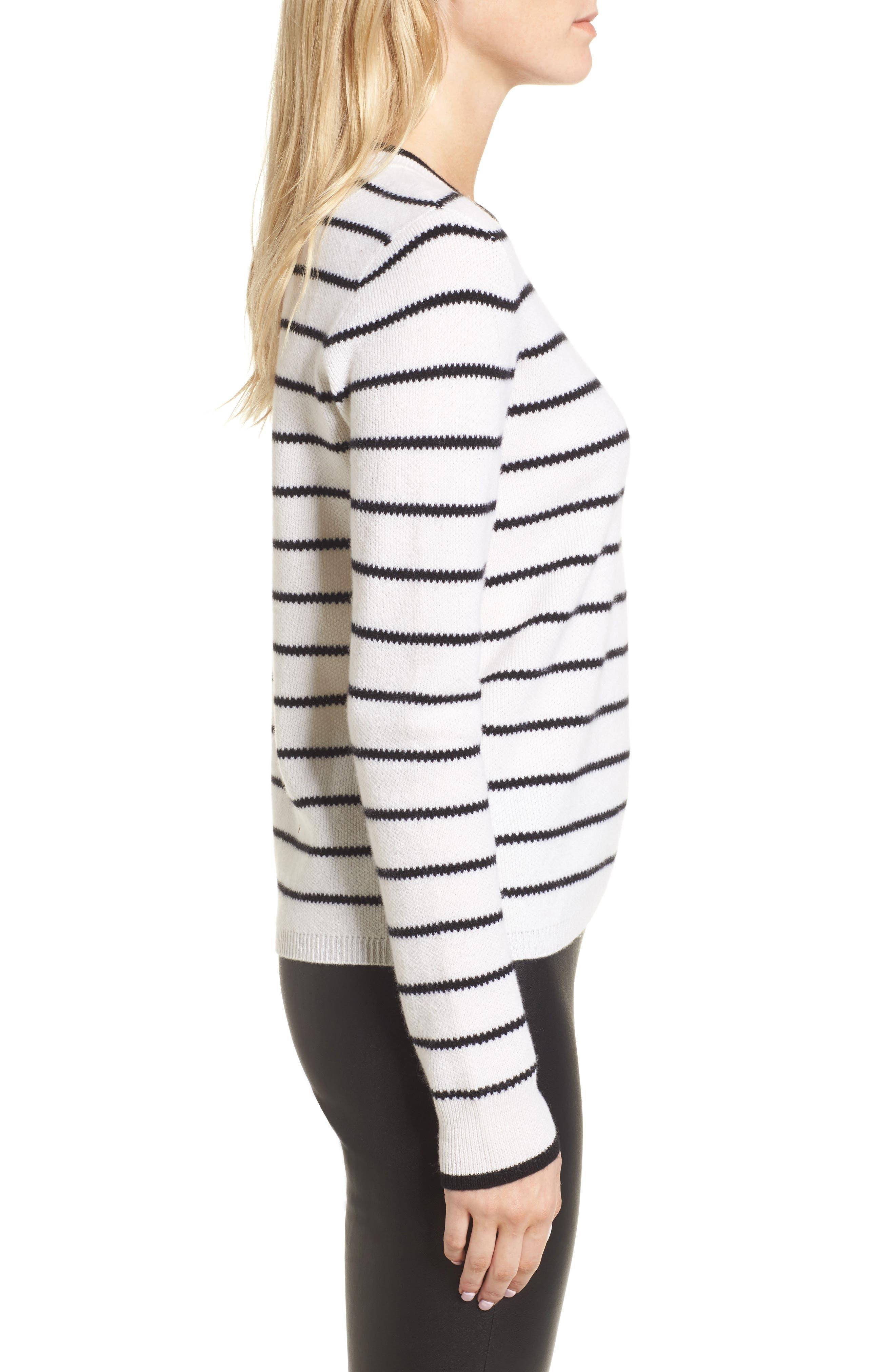 Stripe Cashmere Sweater,                             Alternate thumbnail 6, color,                             Ivory- Black Stripe