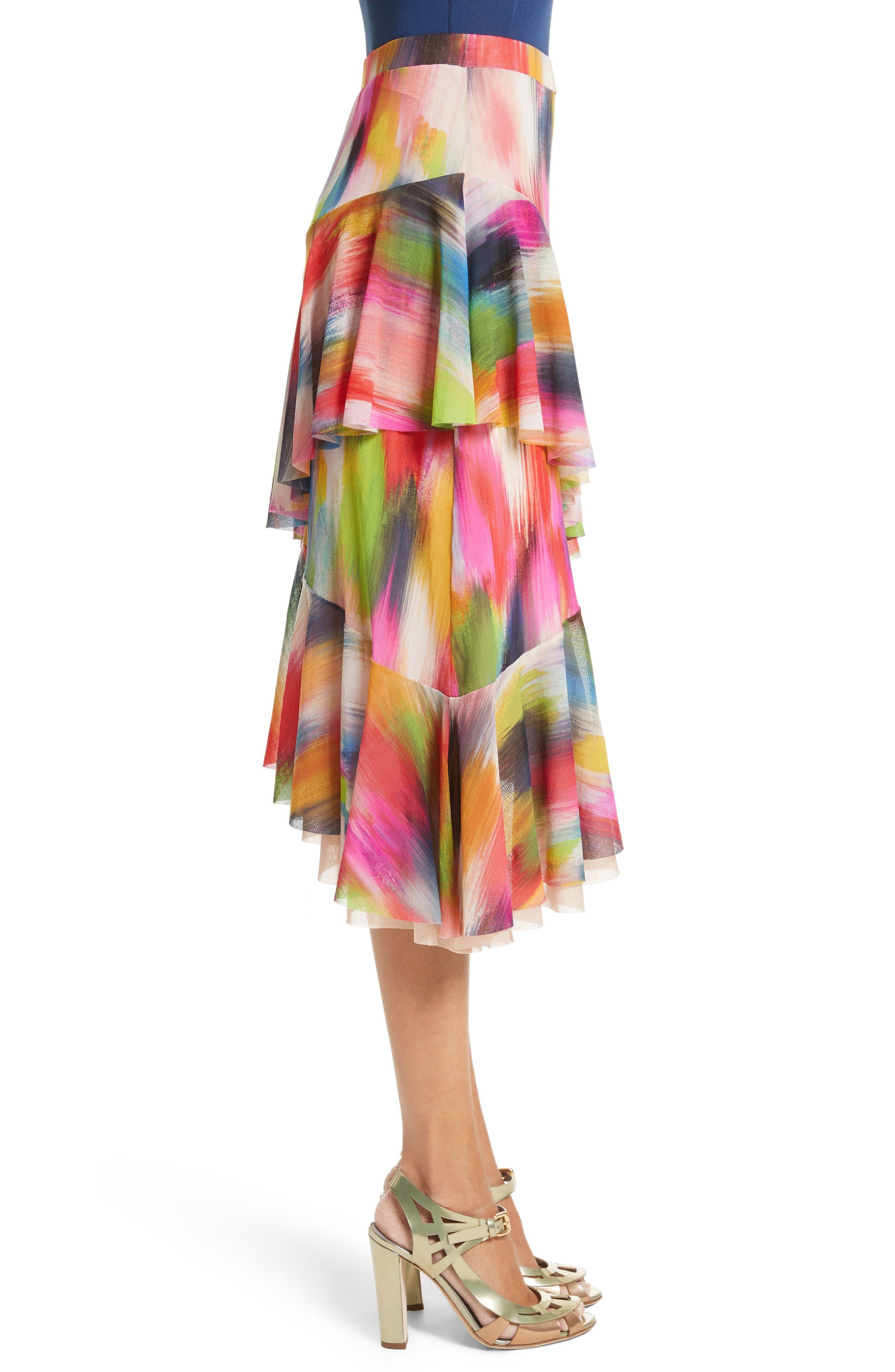 Alternate Image 3  - Fuzzi Ruffle Print Tulle Midi Skirt