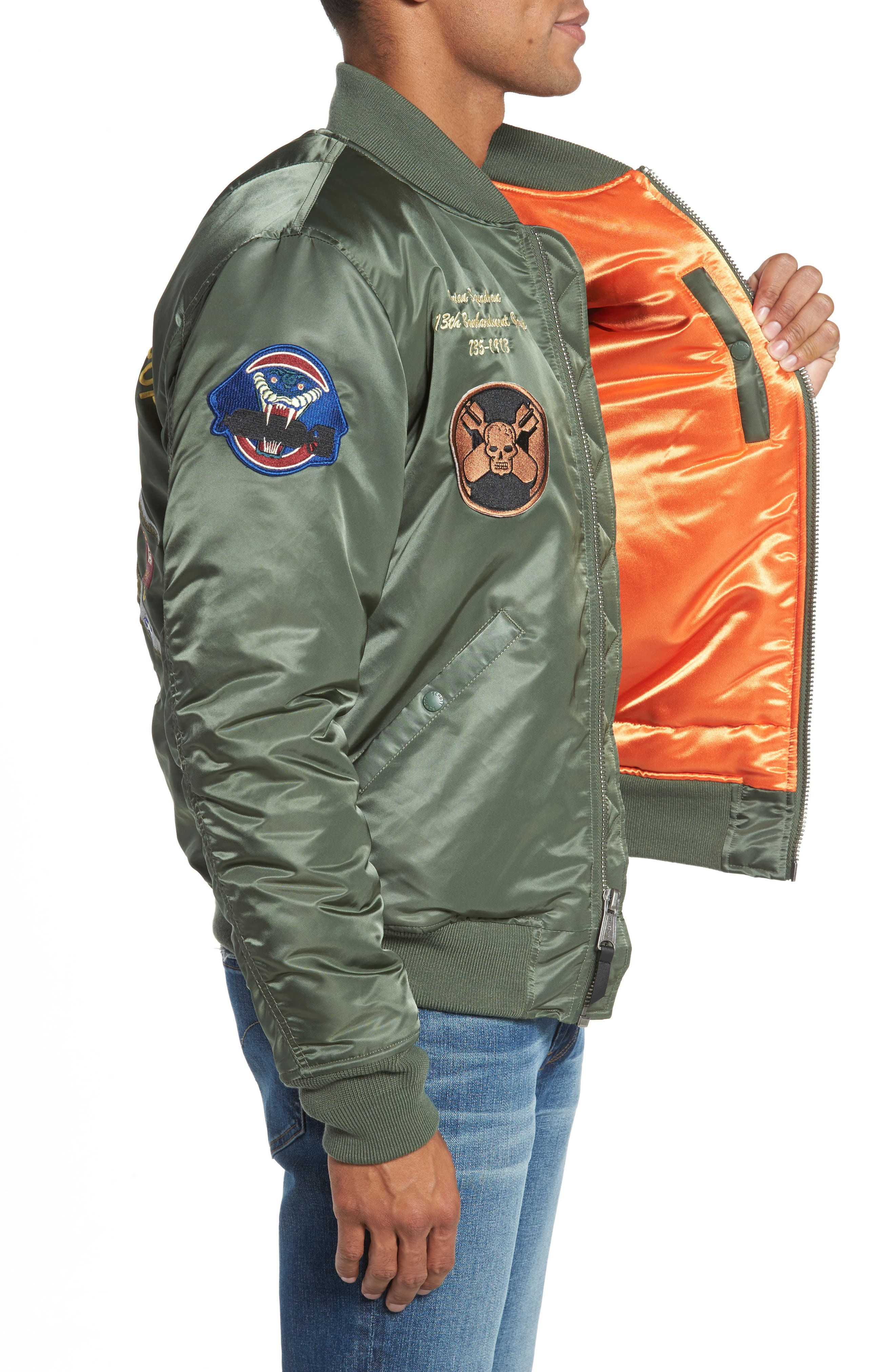 Highly Decorated Embroidered Flight Jacket,                             Alternate thumbnail 3, color,                             Sage