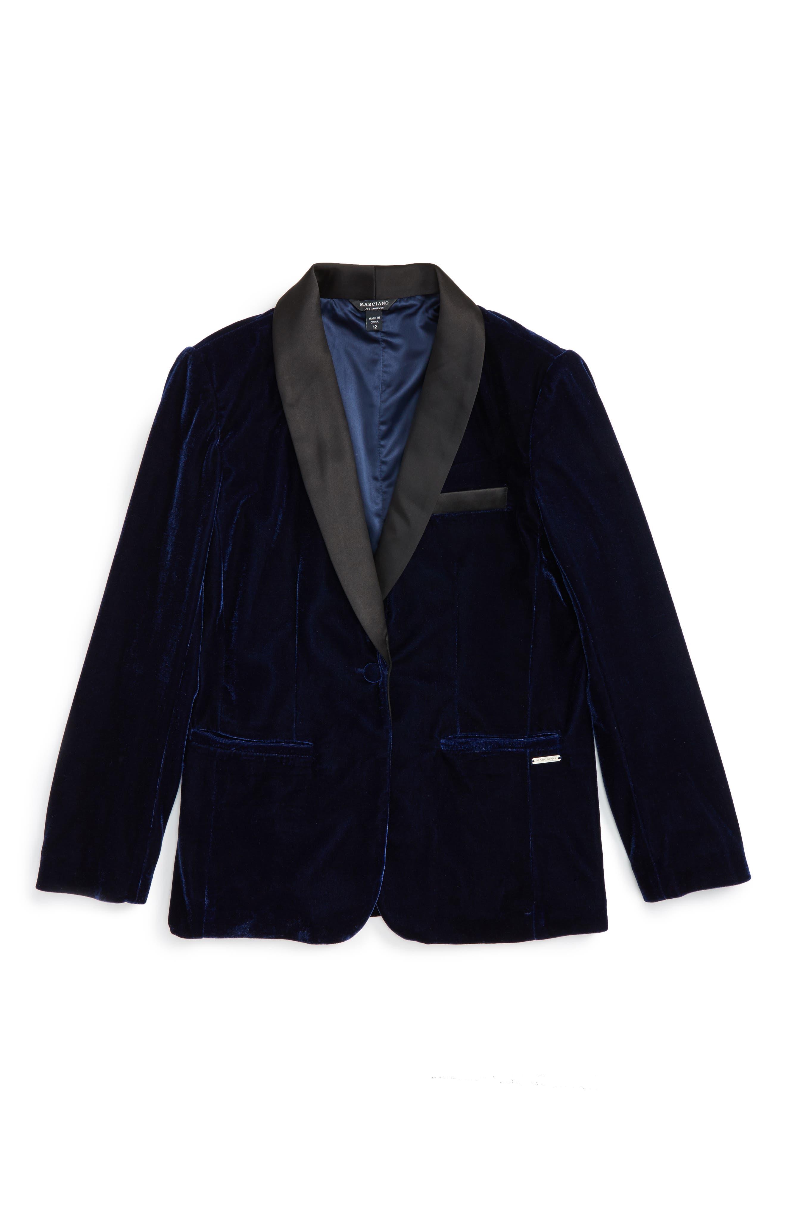 Velvet Tuxedo Blazer,                         Main,                         color, High Def Blue