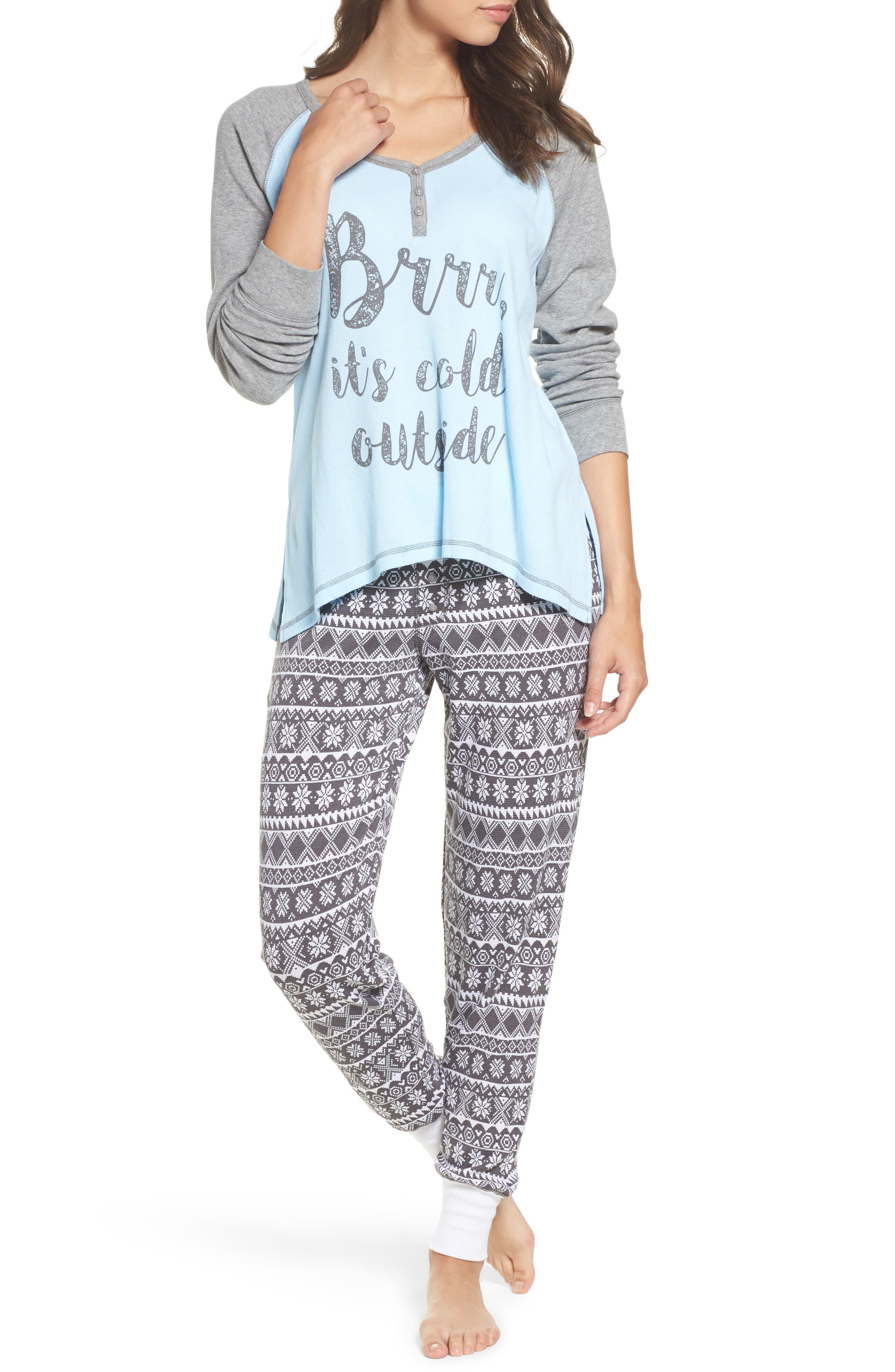 Thermal Pajamas,                             Main thumbnail 1, color,                             Grey