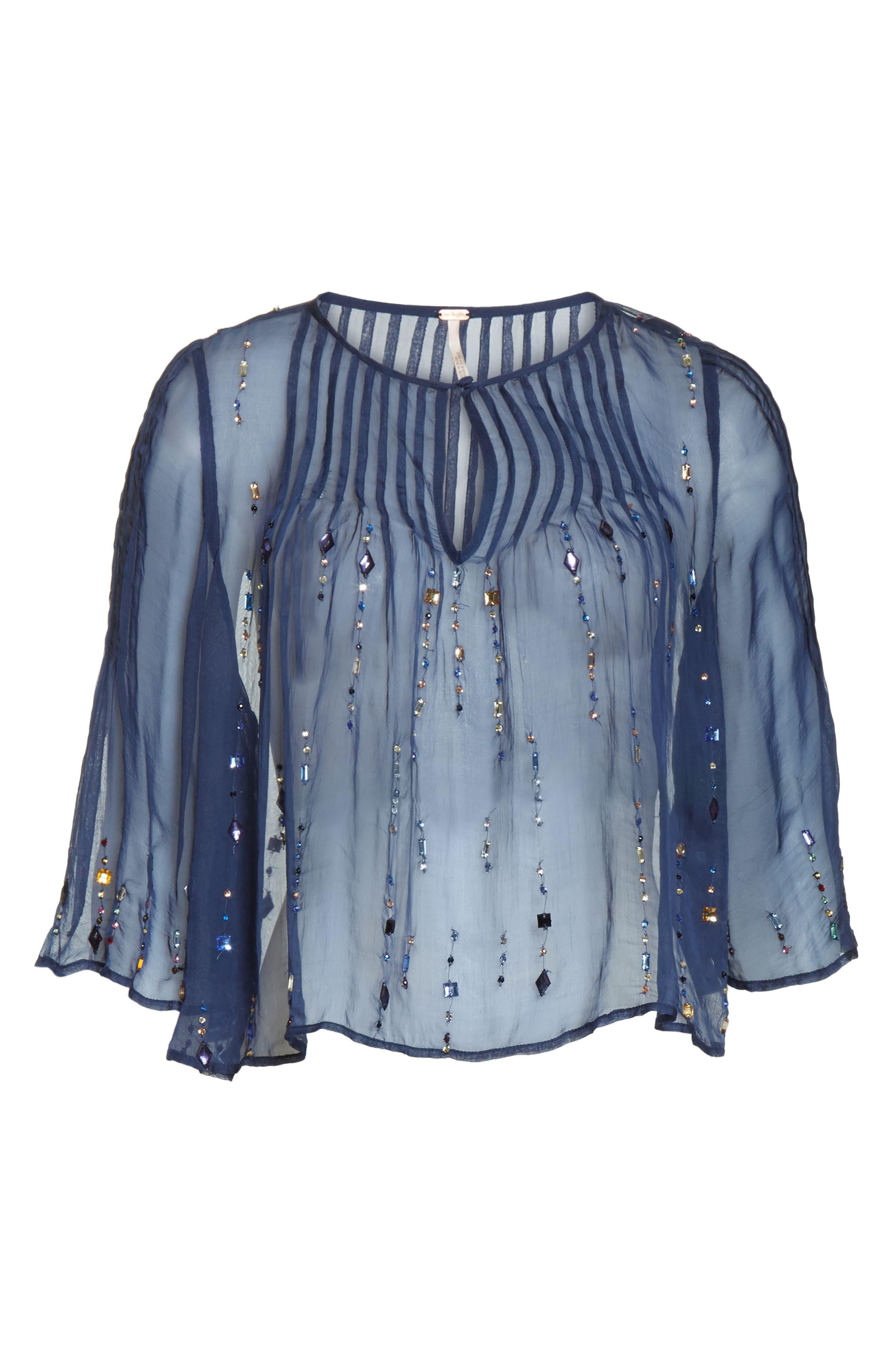 Jewel Box Embellished Sheer Top,                             Alternate thumbnail 6, color,                             Sapphire