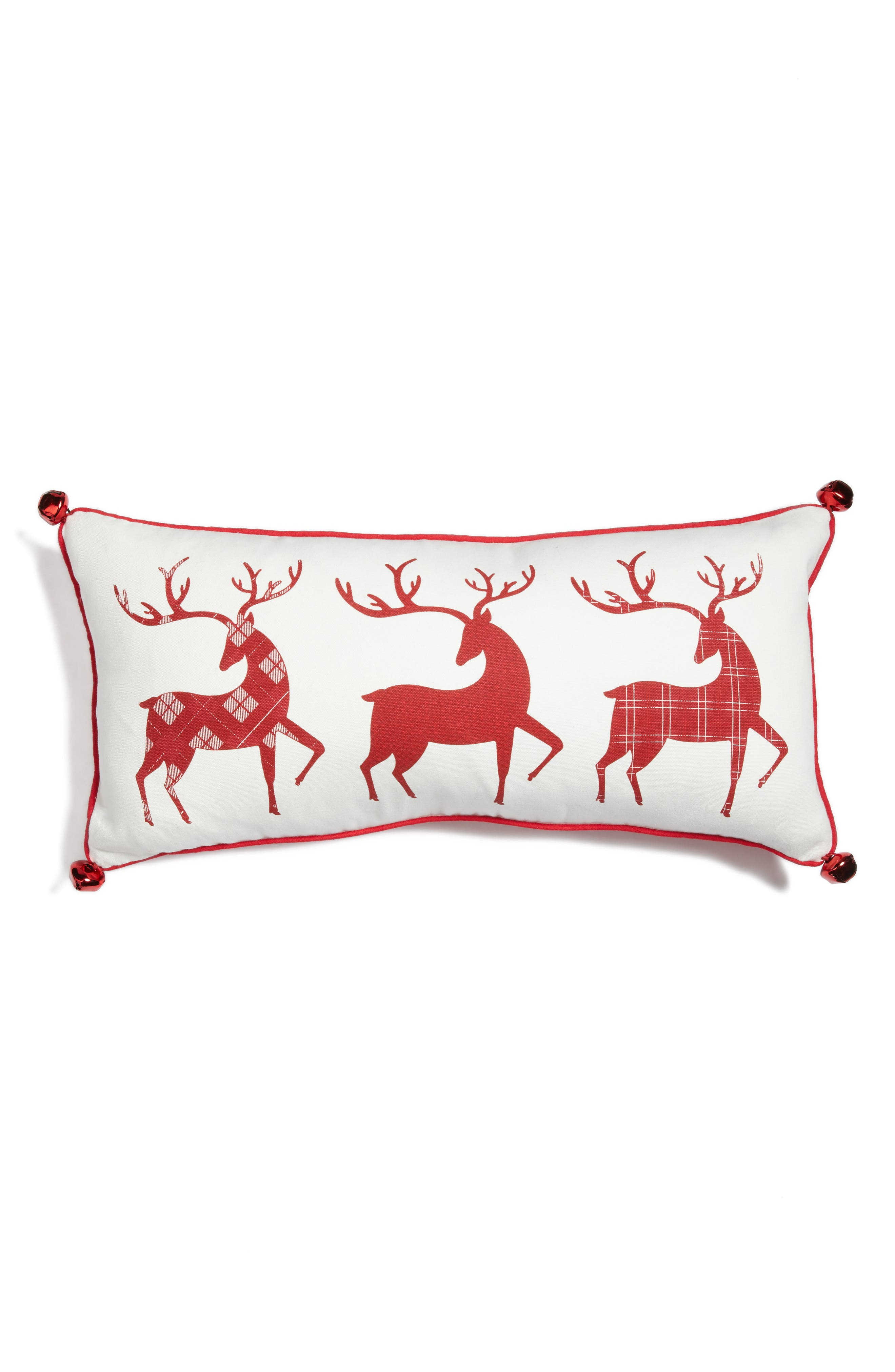 Three Reindeer Accent Pillow,                         Main,                         color, White