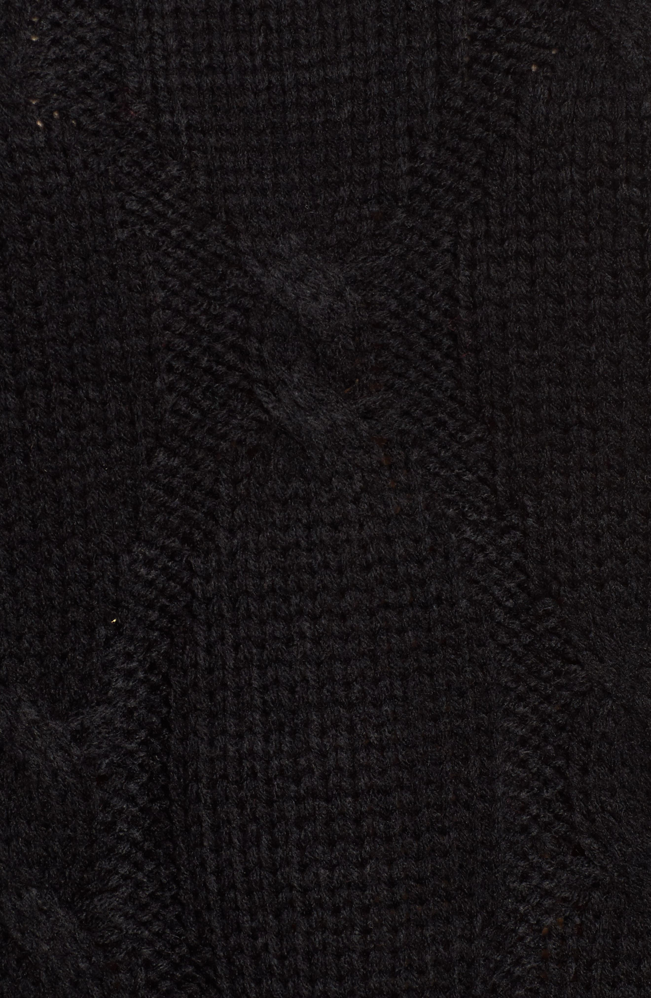 Cold Shoulder Cable Sweater,                             Alternate thumbnail 5, color,                             Black