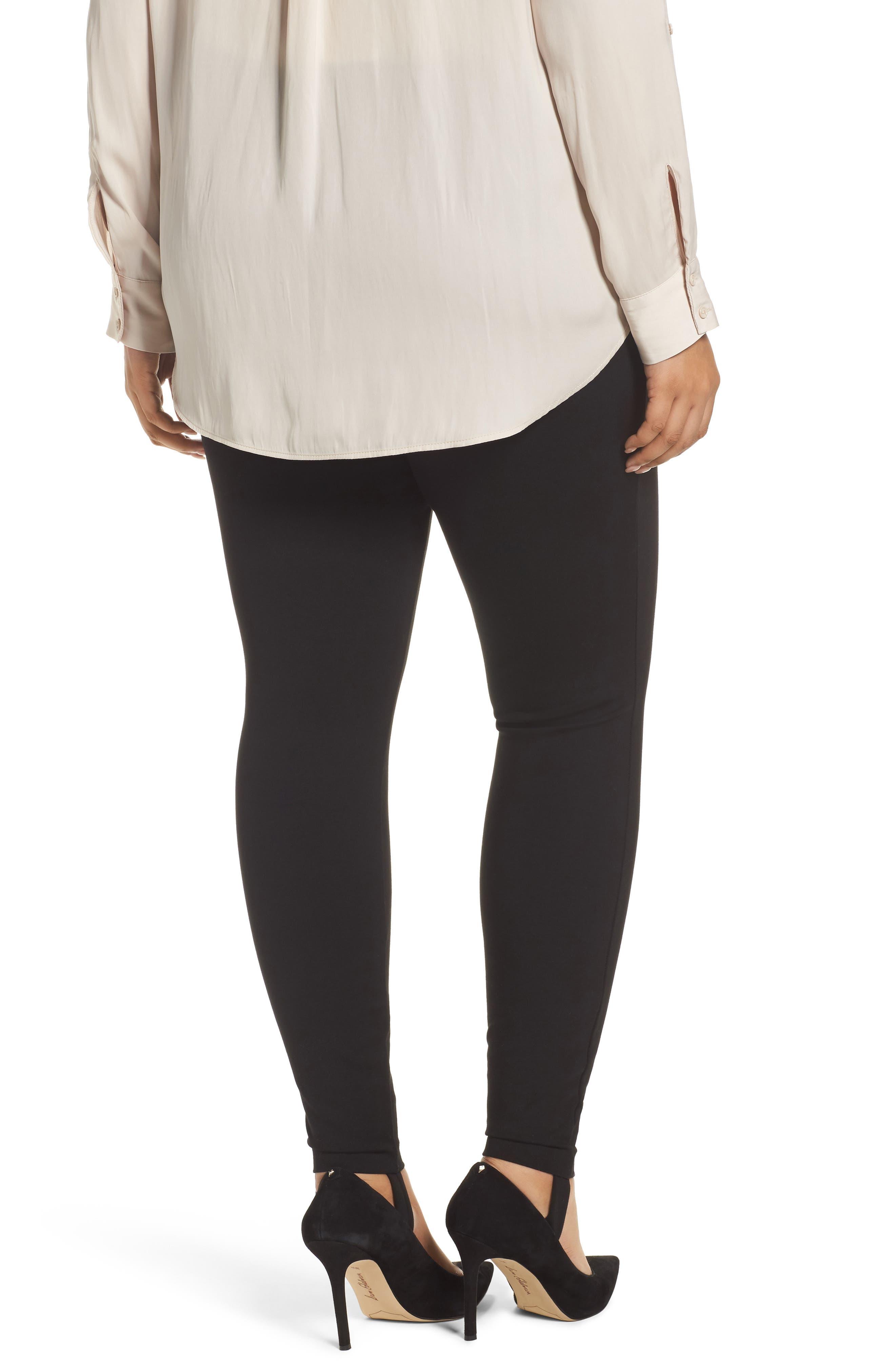 Ponte Knit Stirrup Pants,                             Alternate thumbnail 2, color,                             Black