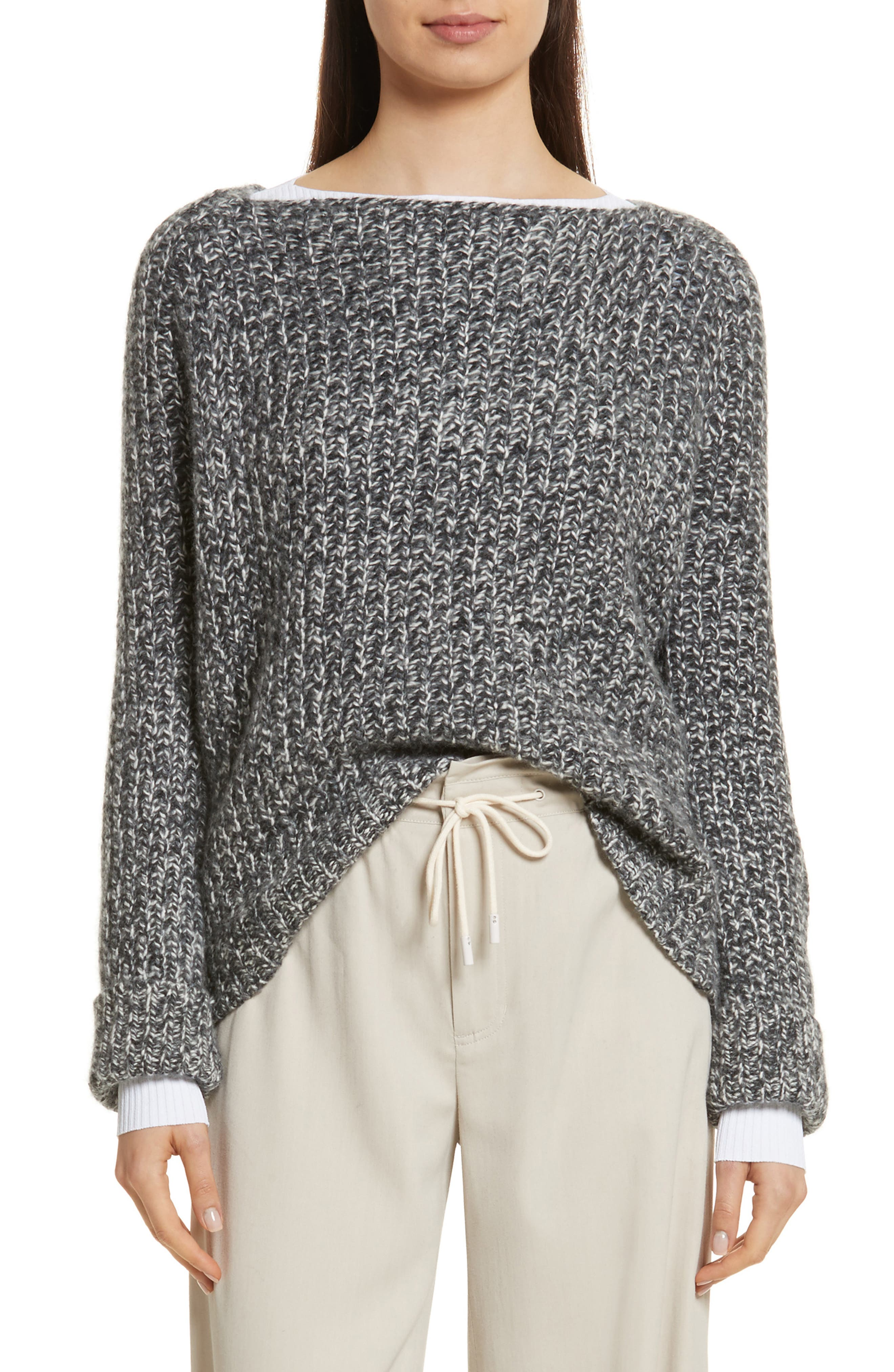 Marled Wool Blend Sweater,                             Main thumbnail 1, color,                             Grey