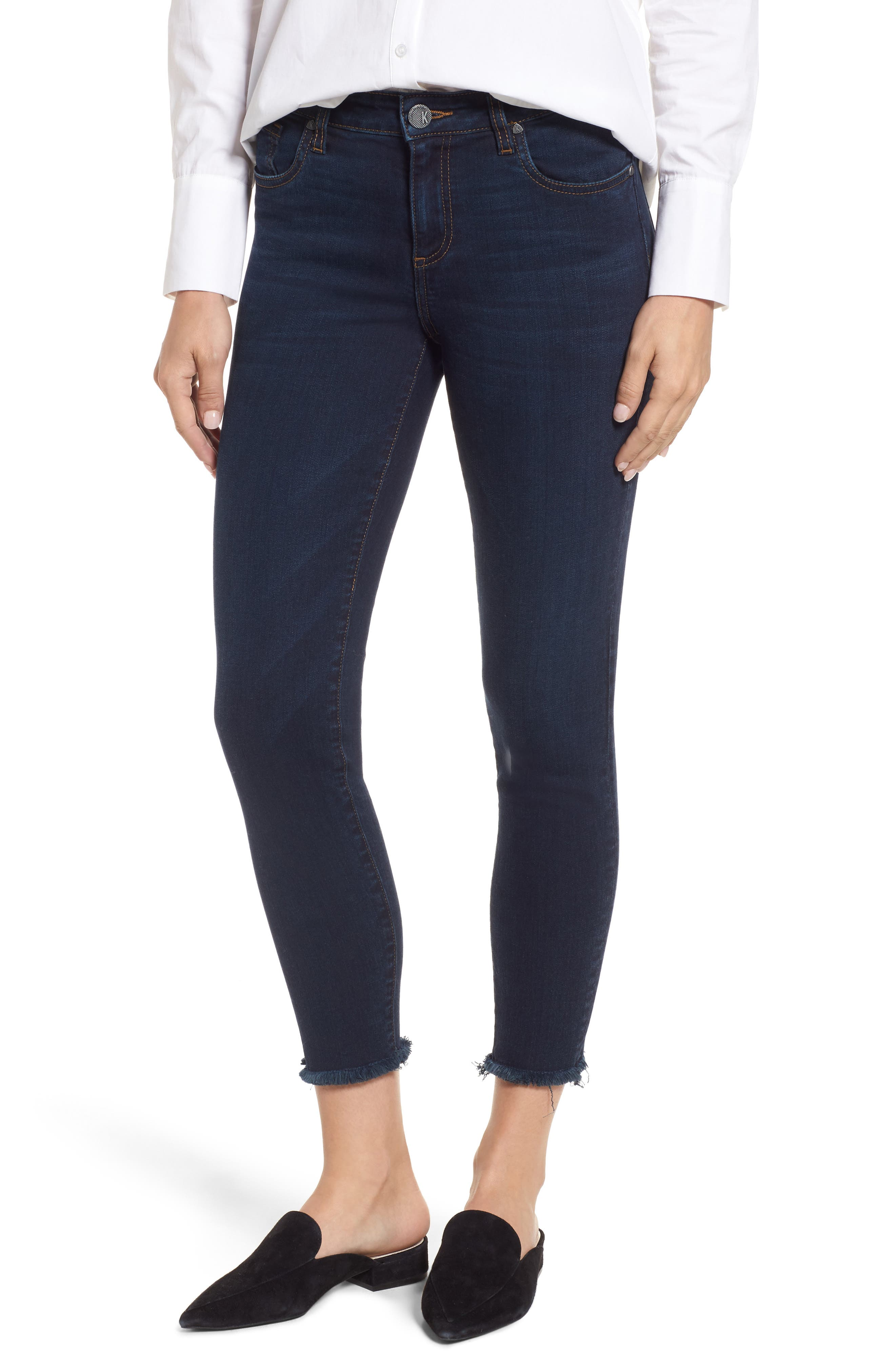 Main Image - KUT from the Kloth Donna Frayed Skinny Crop Jeans (Certitude)