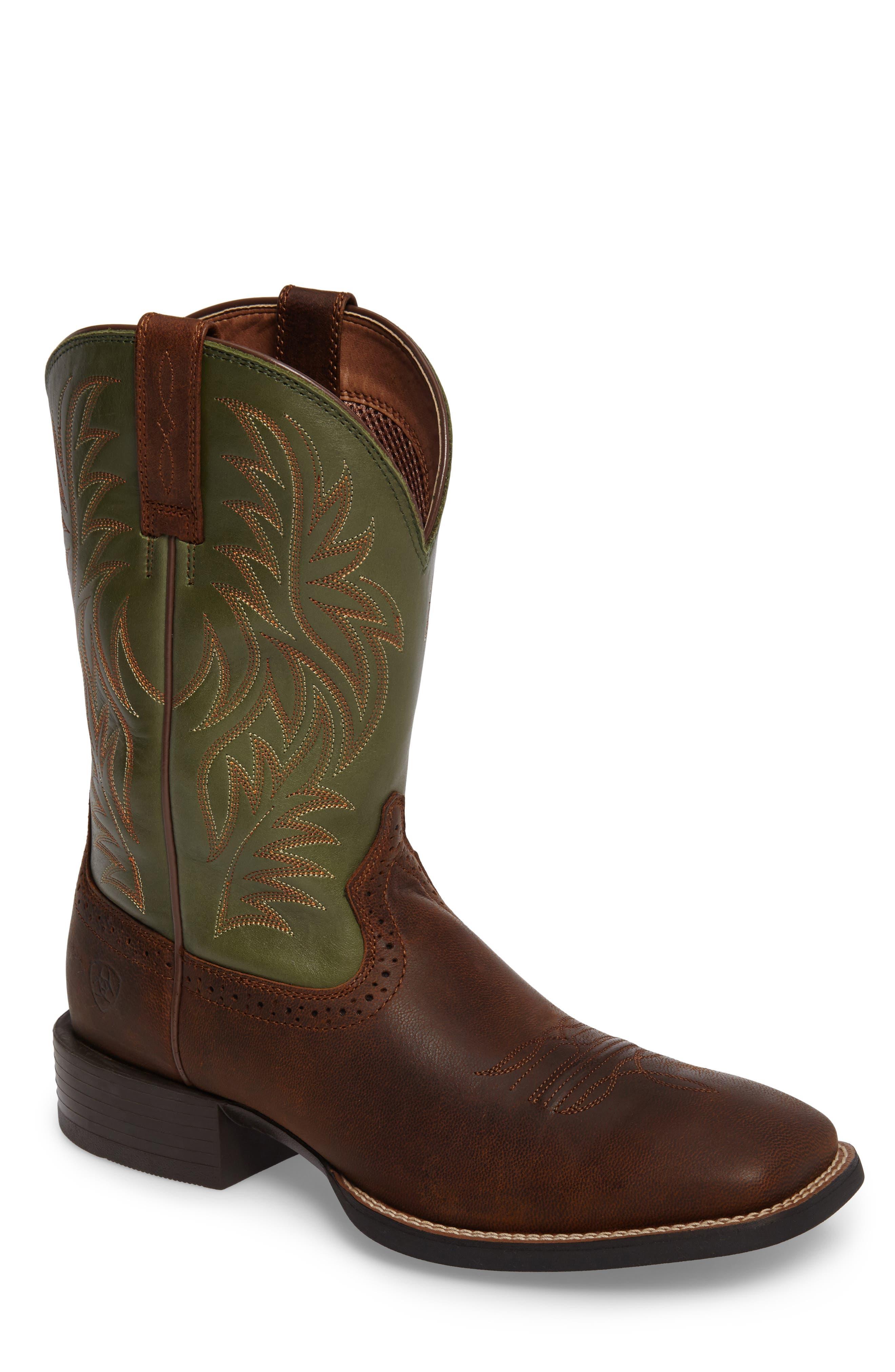 'Sport Western' Cowboy Boot,                             Main thumbnail 1, color,                             Tan/ Pesto