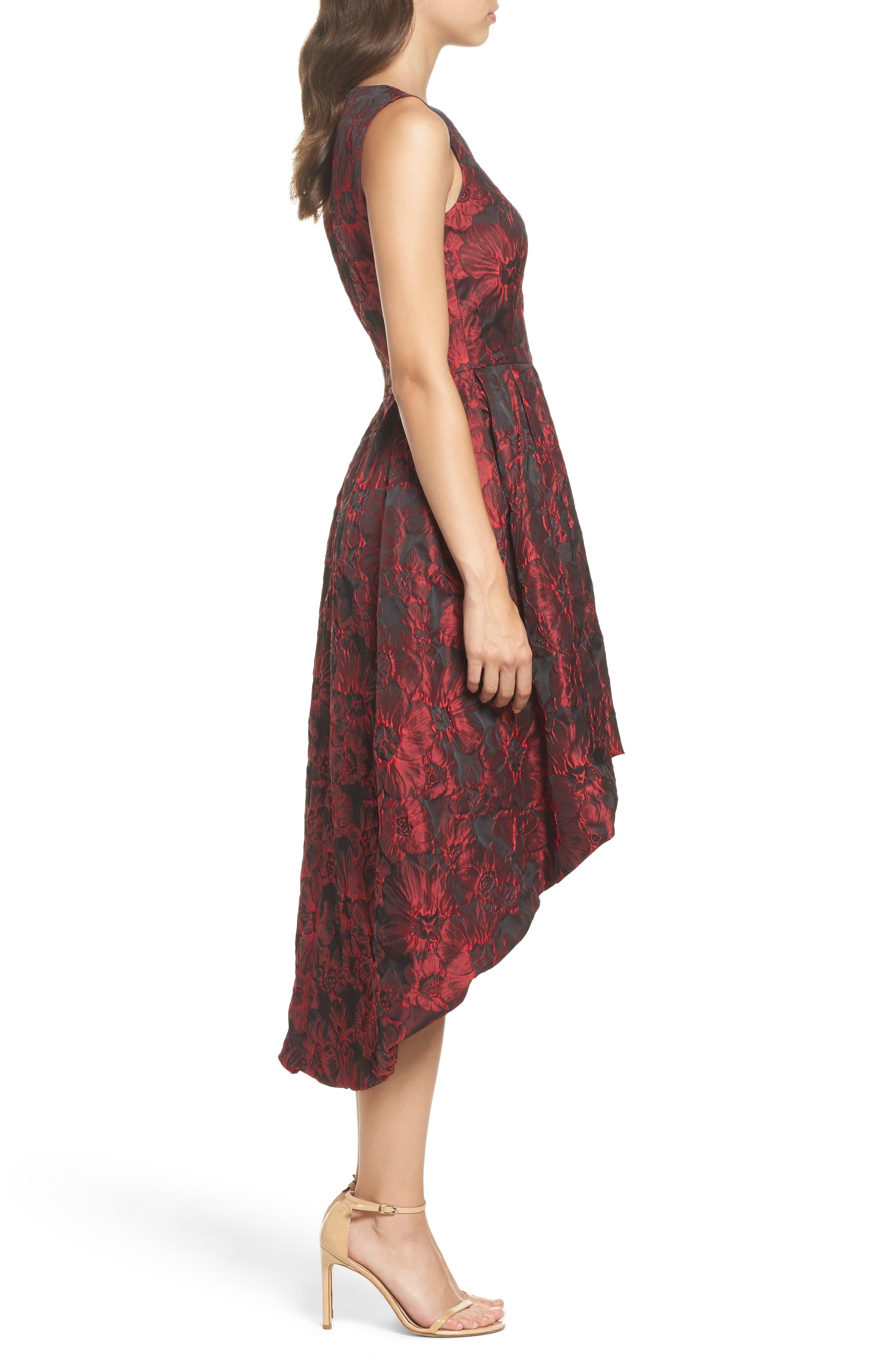 Jacquard High/Low Dress,                             Alternate thumbnail 3, color,                             Red & Black