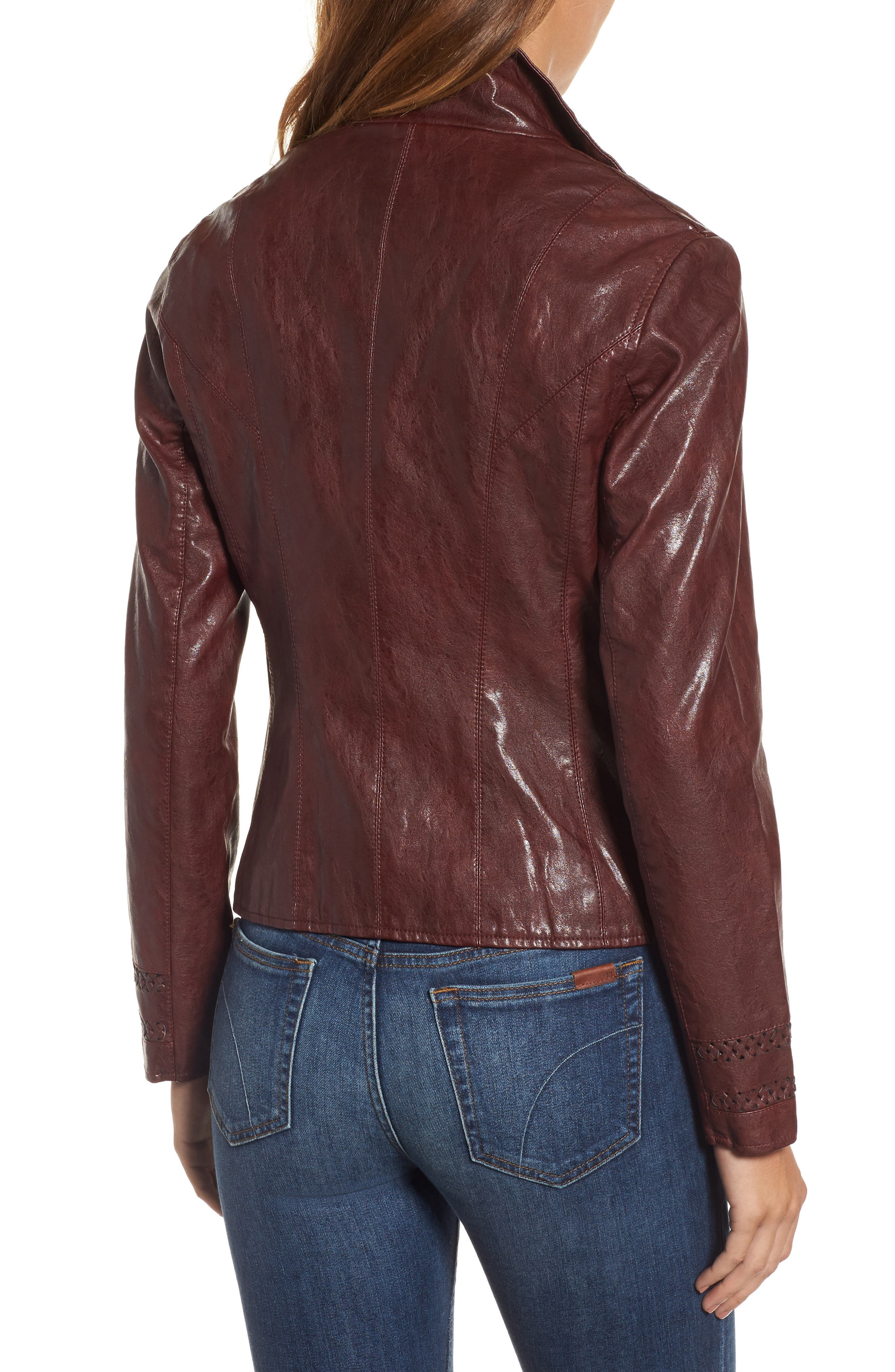 Brittney Faux Leather Jacket,                             Alternate thumbnail 2, color,                             Burgundy