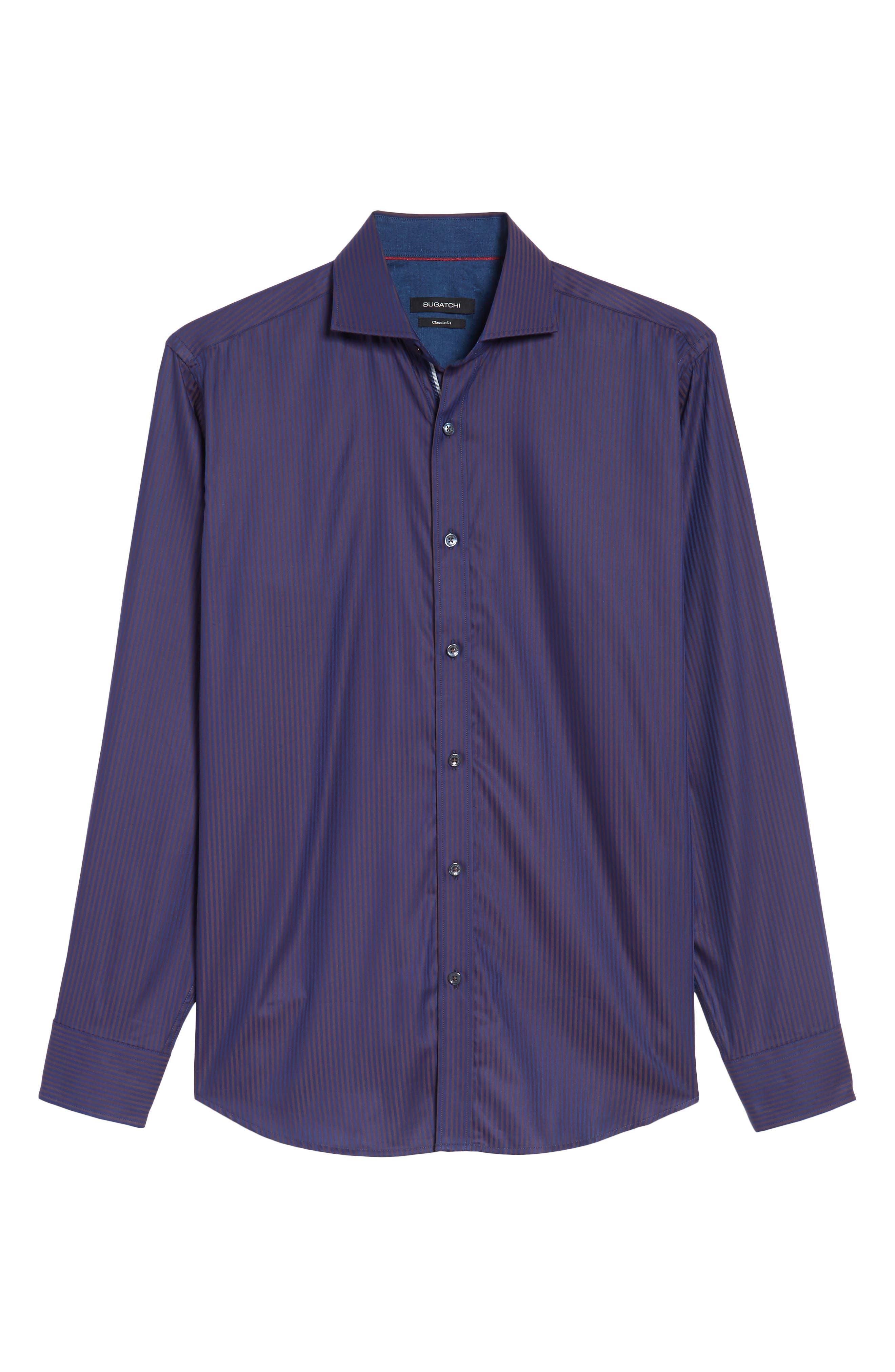 Alternate Image 6  - Bugatchi Classic Fit Herringbone Pinstripe Sport Shirt