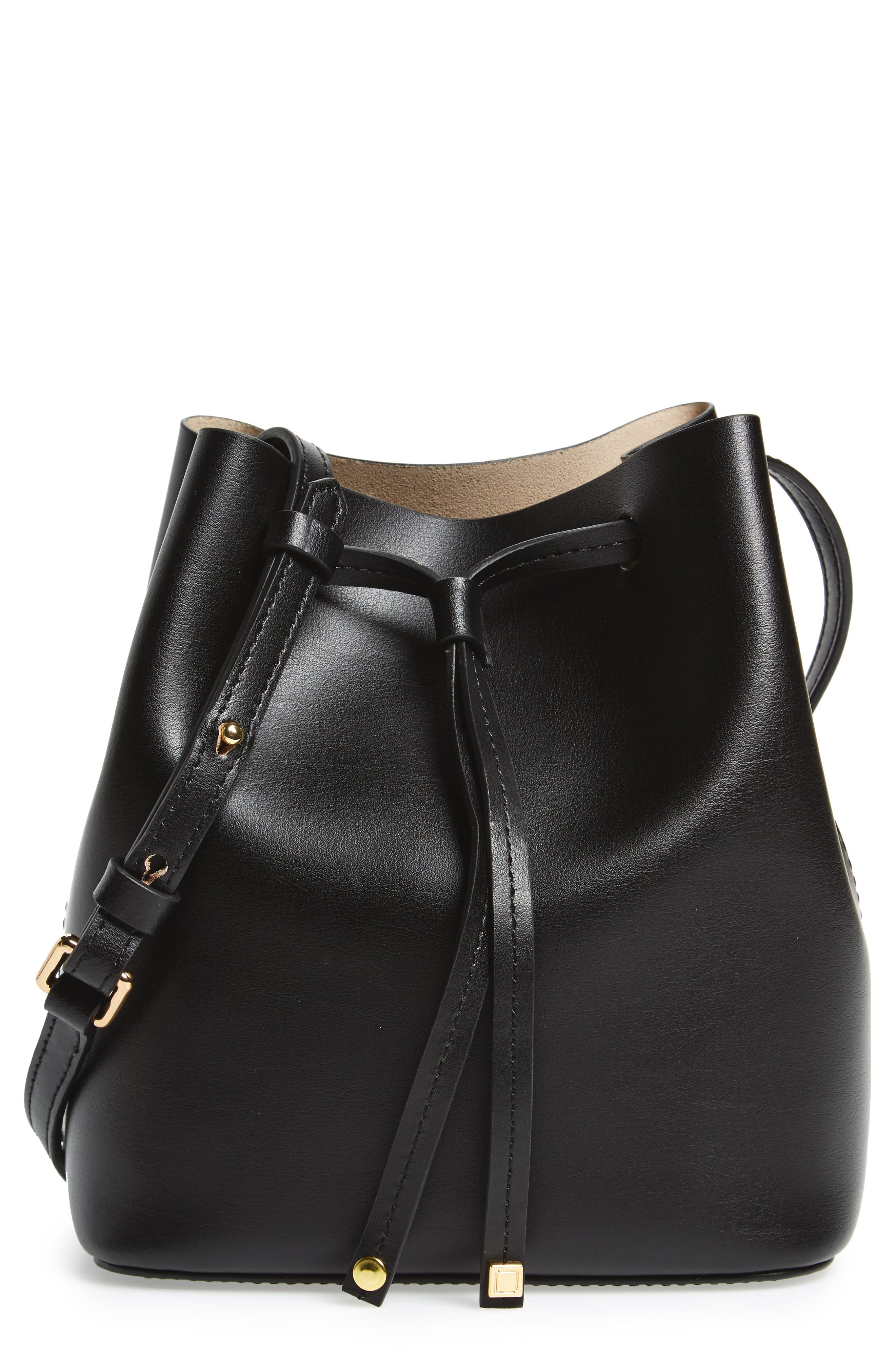 LODIS Small Silicon Valley Blake RFID Leather Bucket Bag,                             Main thumbnail 1, color,                             Black/ Taupe