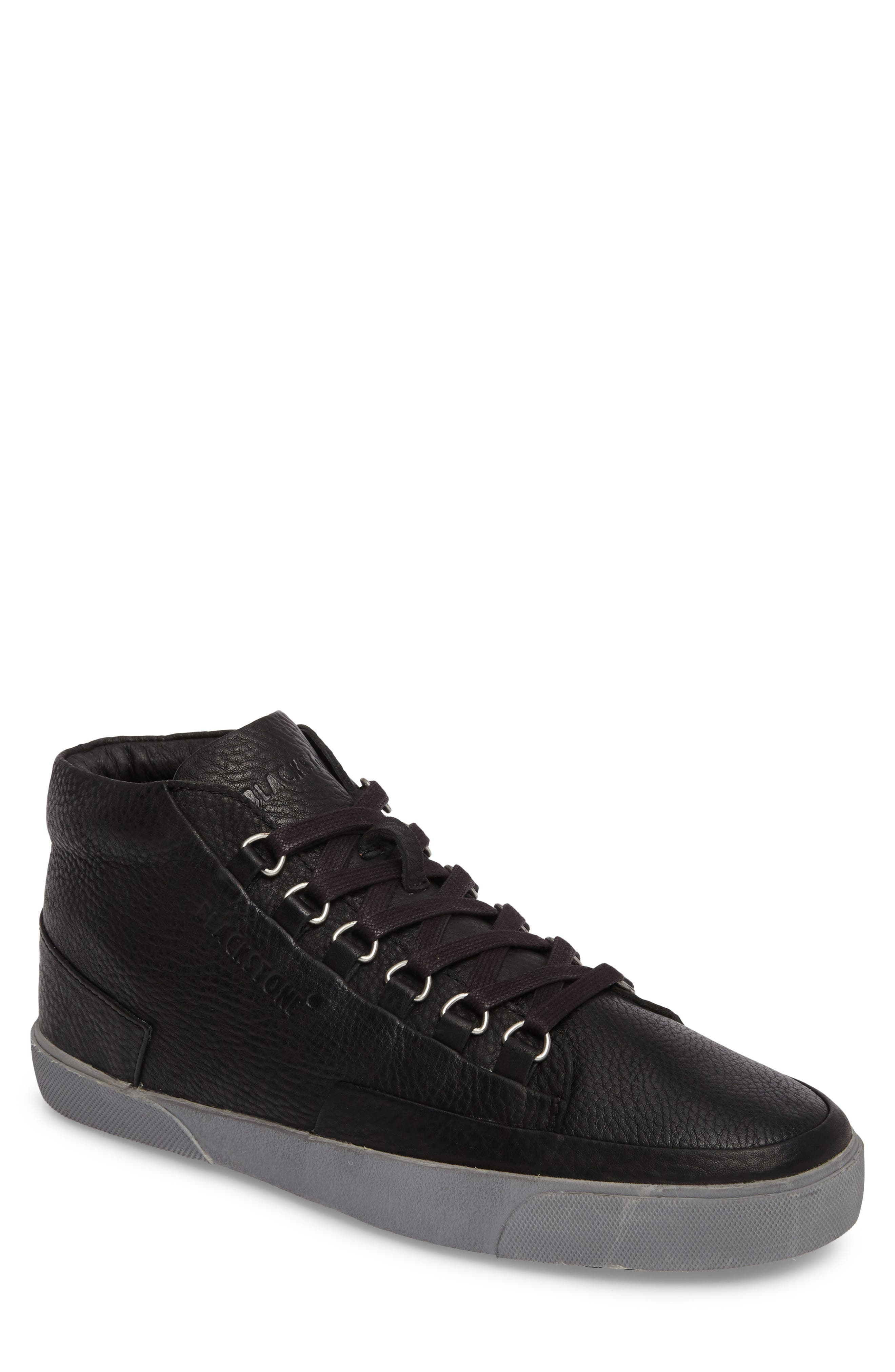 KM 02 Sneaker with Genuine Shearling Lining,                             Main thumbnail 1, color,                             Black Leather