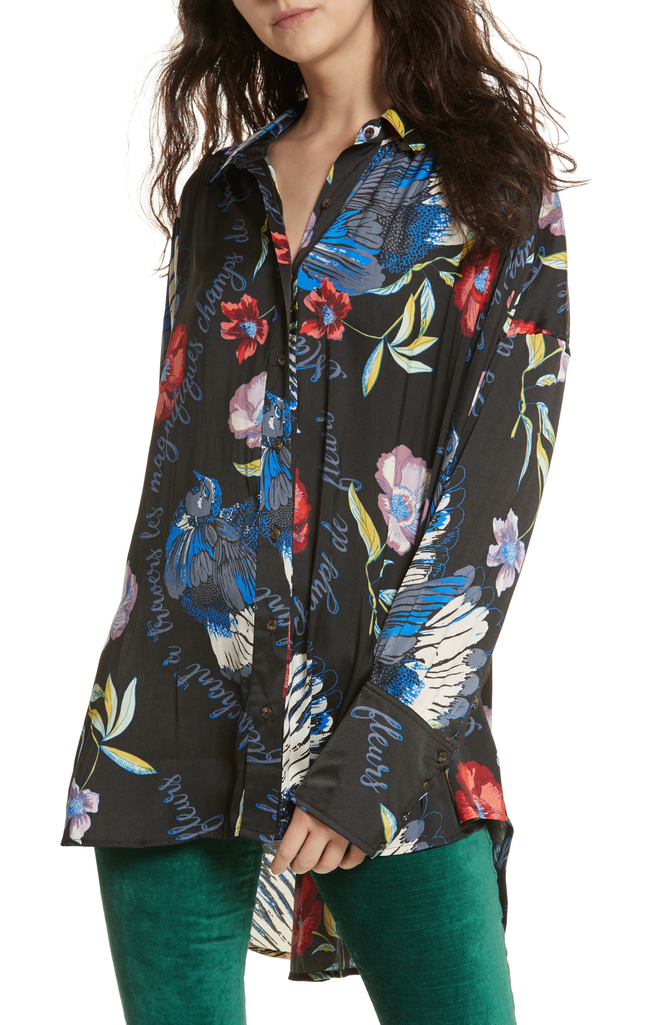 Silky Nights Blouse,                         Main,                         color, Black