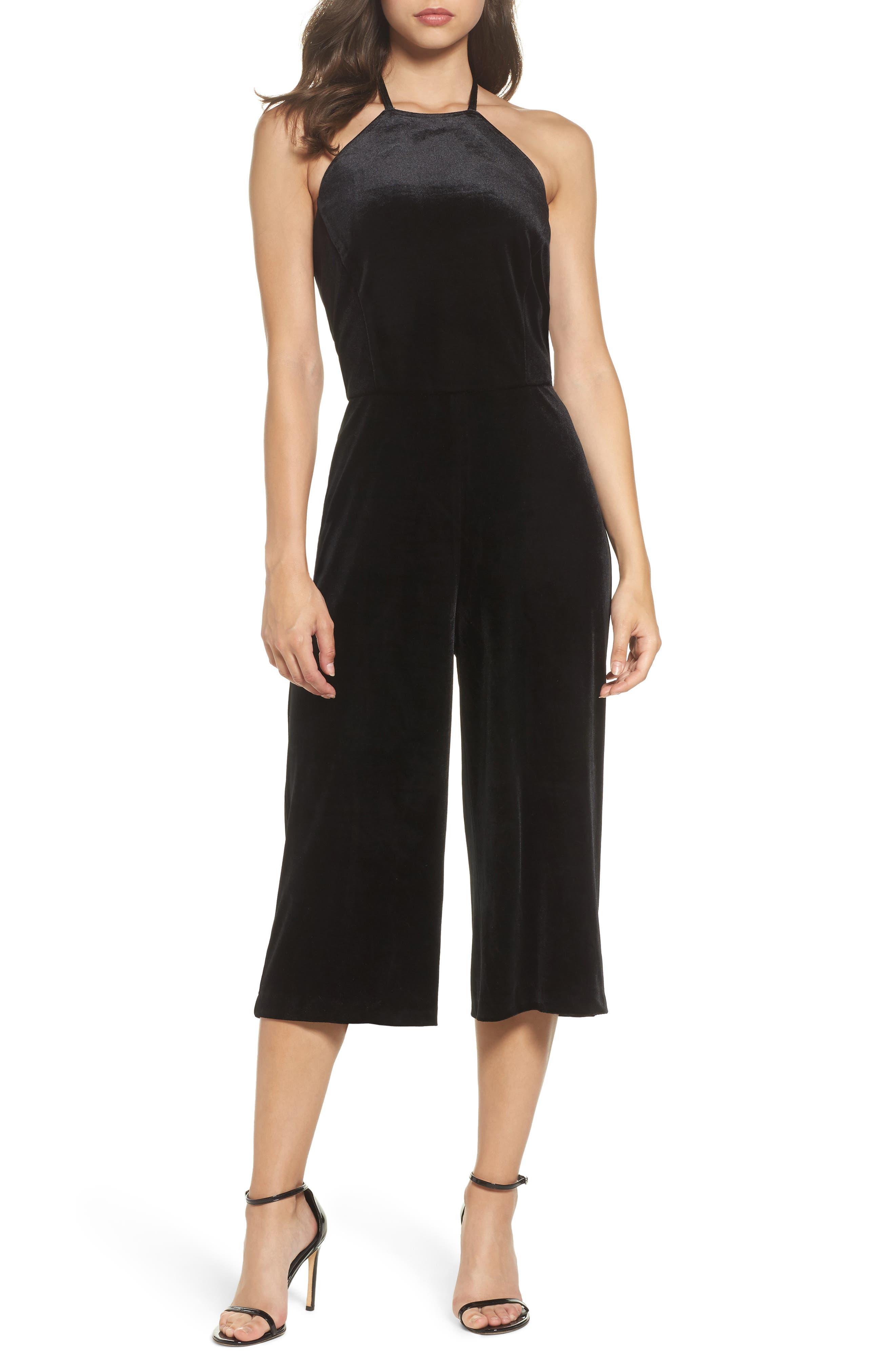Stretch Velvet Culotte Jumpsuit,                             Main thumbnail 1, color,                             Black