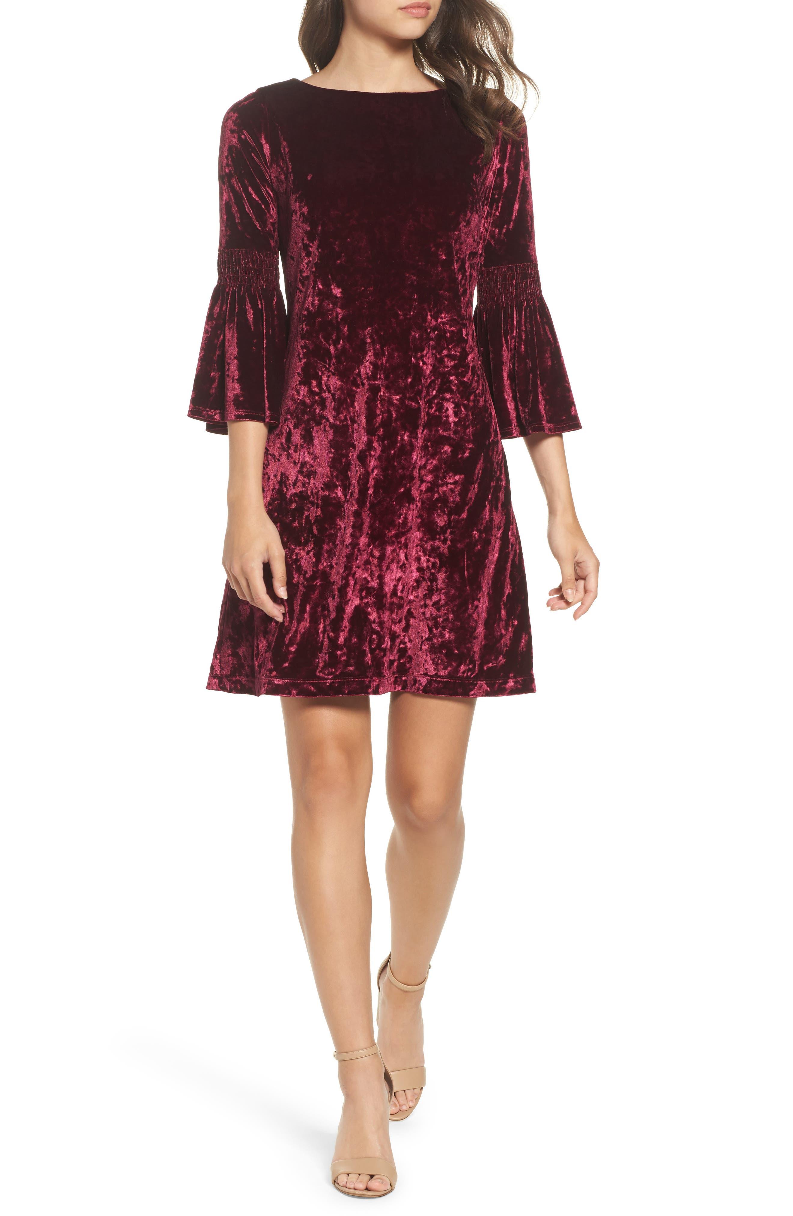 Crushed Velvet Bell Sleeve Dress,                         Main,                         color, Burgundy