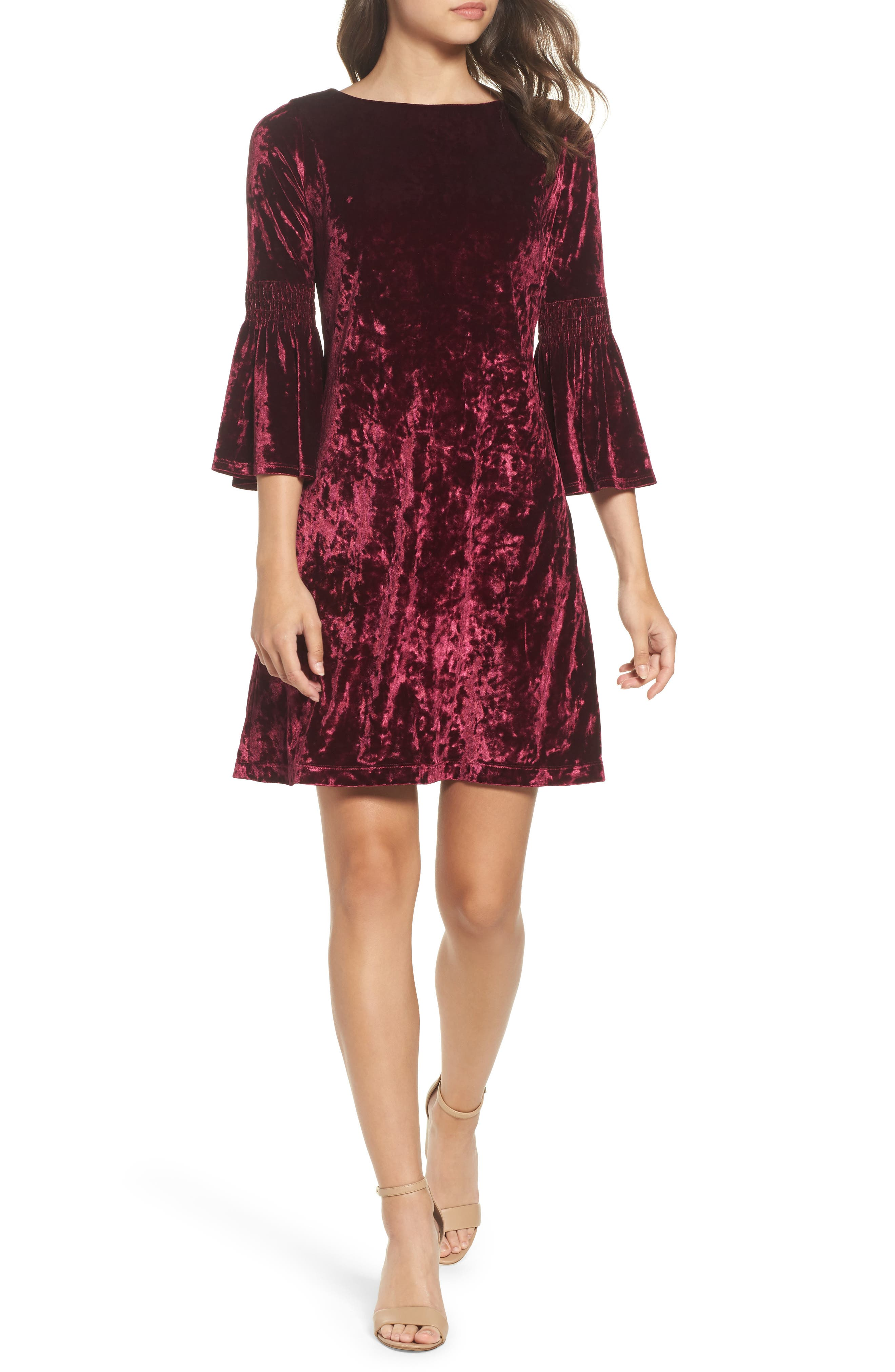 Gabby Skye Crushed Velvet Bell Sleeve Dress