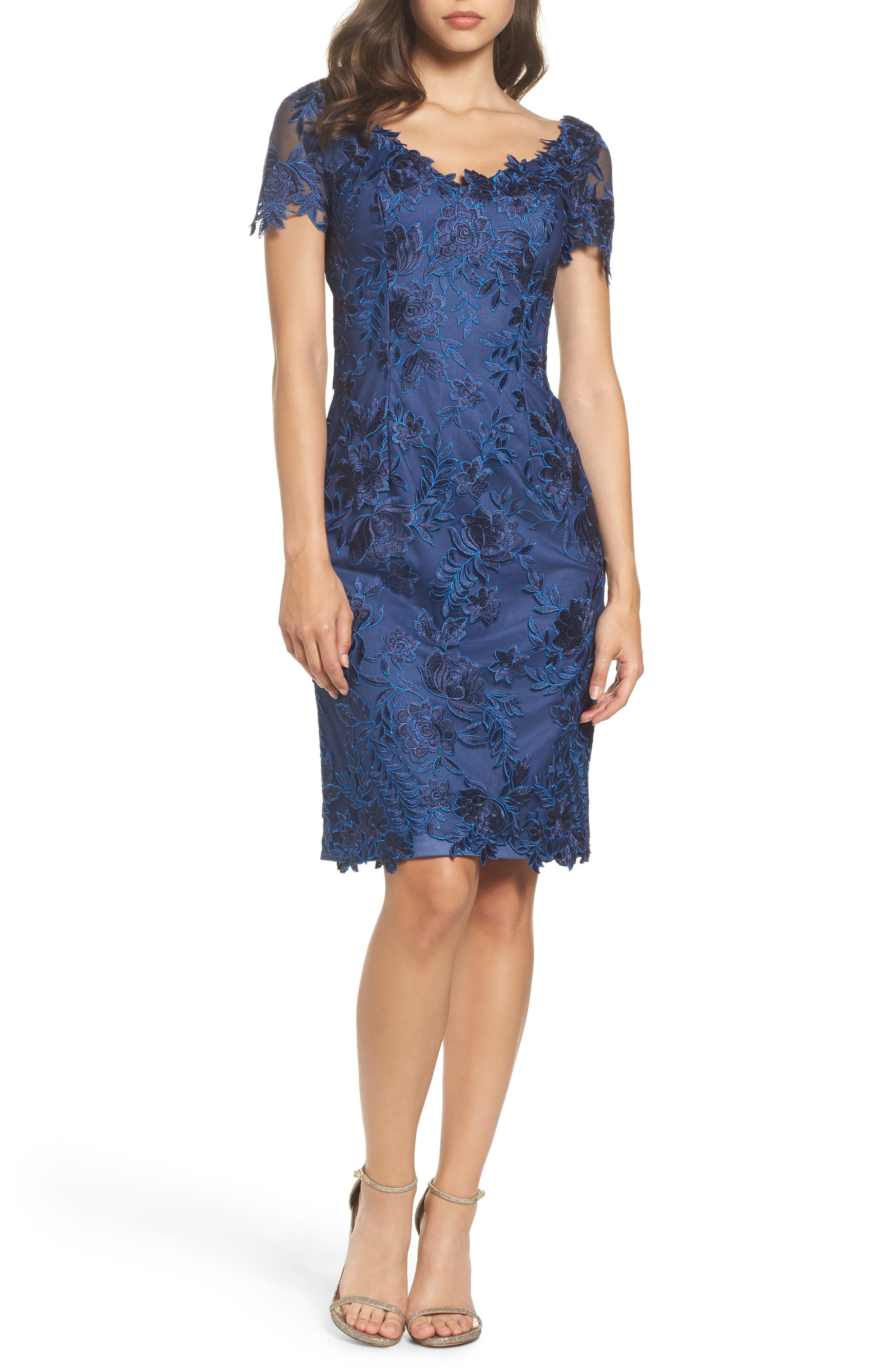 Alternate Image 1 Selected - La Femme Lace Sheath Dress