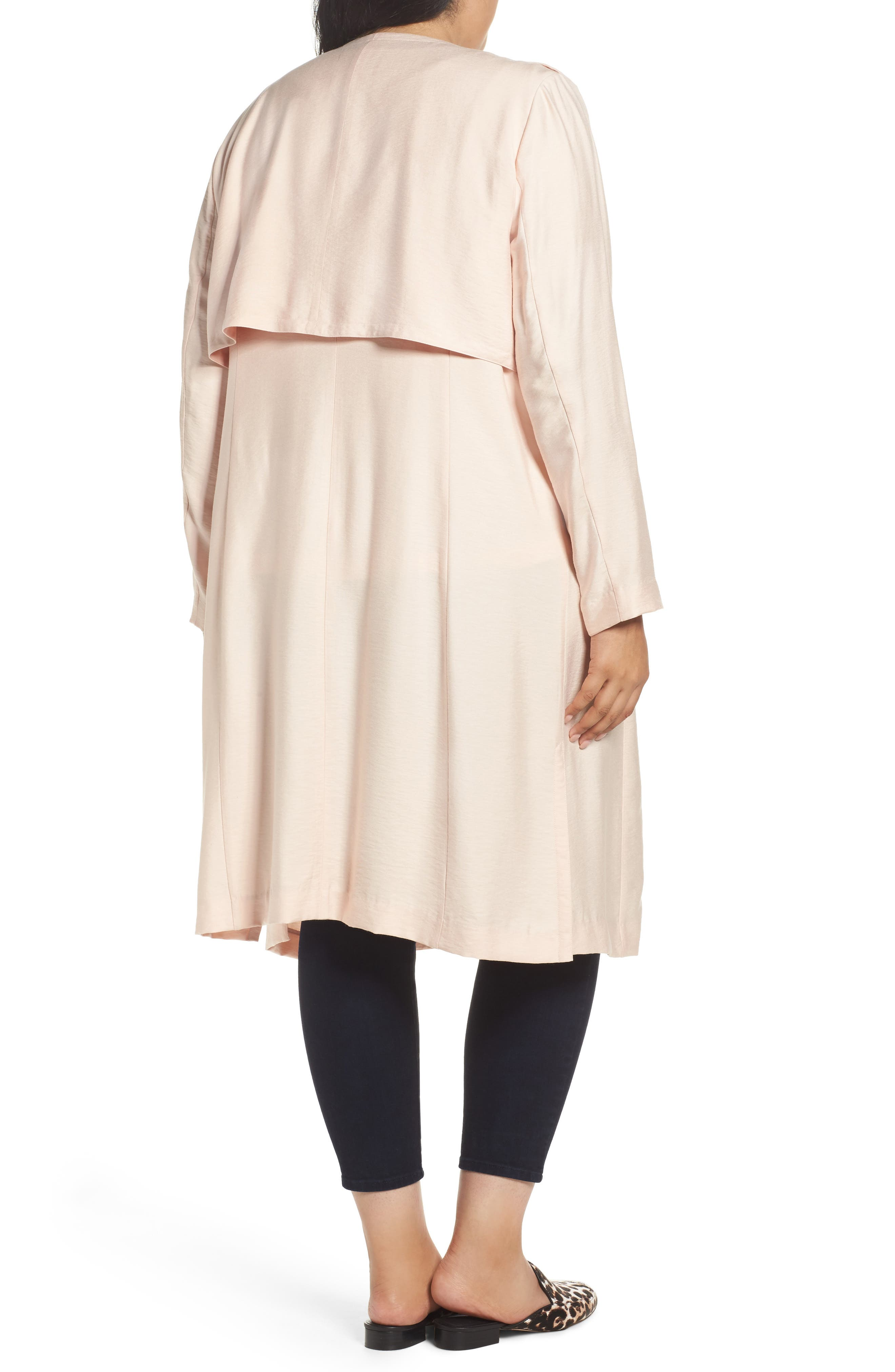 Long Open Front Trench Coat,                             Alternate thumbnail 2, color,                             Pink Wood