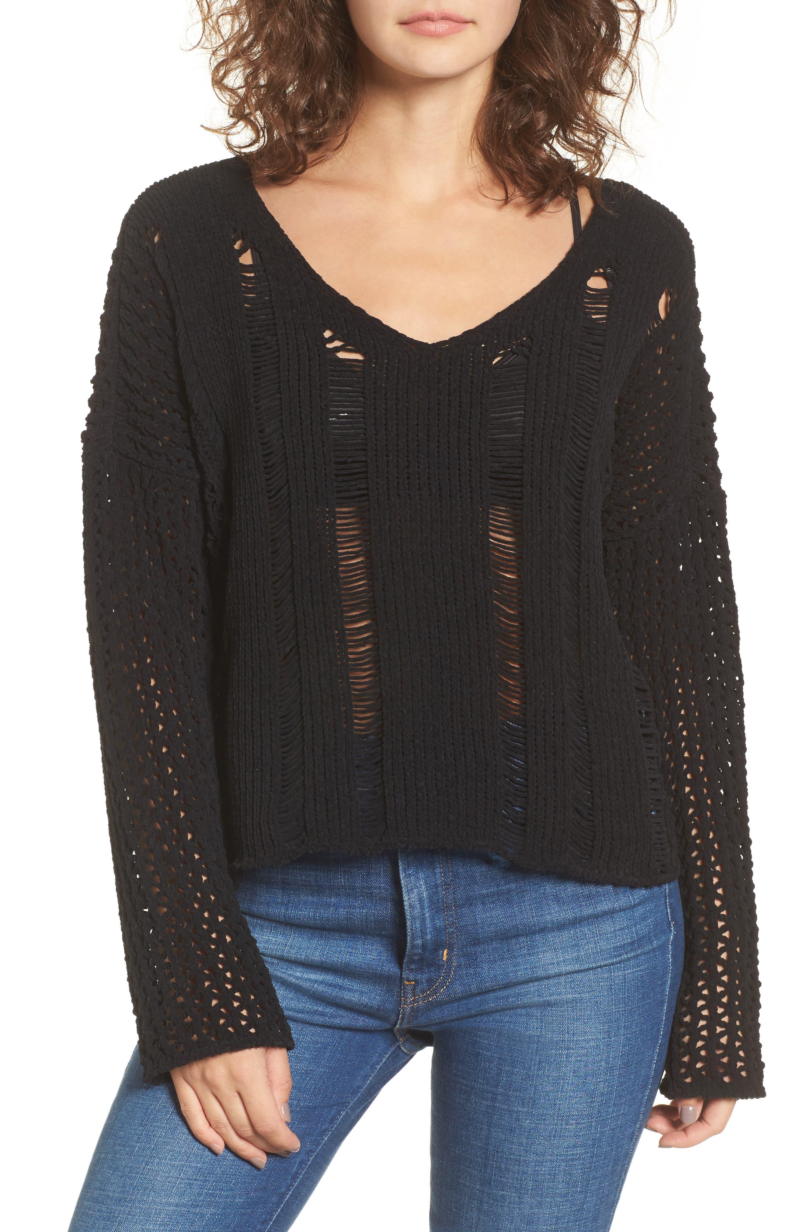 Net Detail Sweater,                         Main,                         color, Black