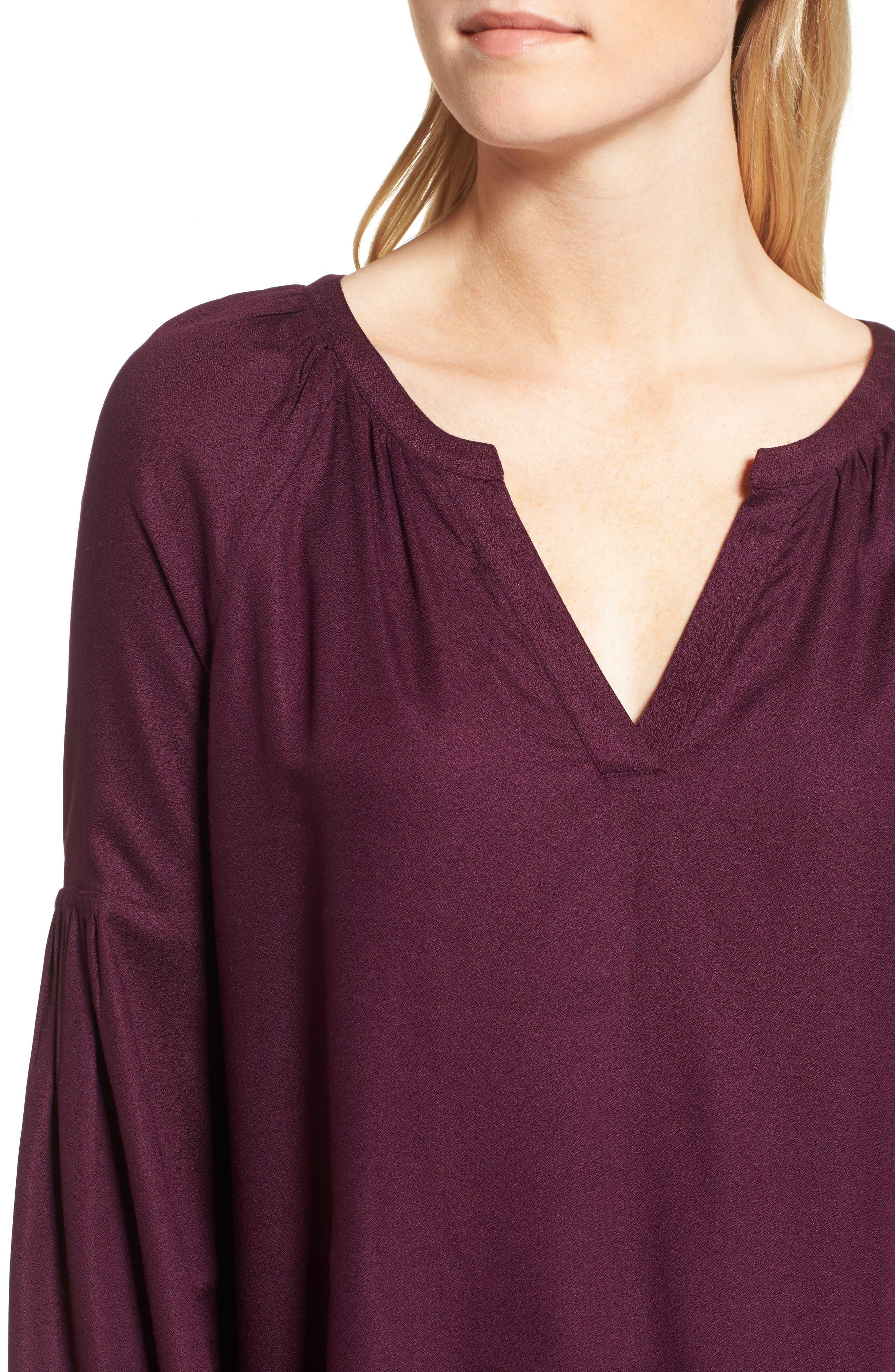 Blouson Sleeve Top,                             Alternate thumbnail 4, color,                             Purple Potent