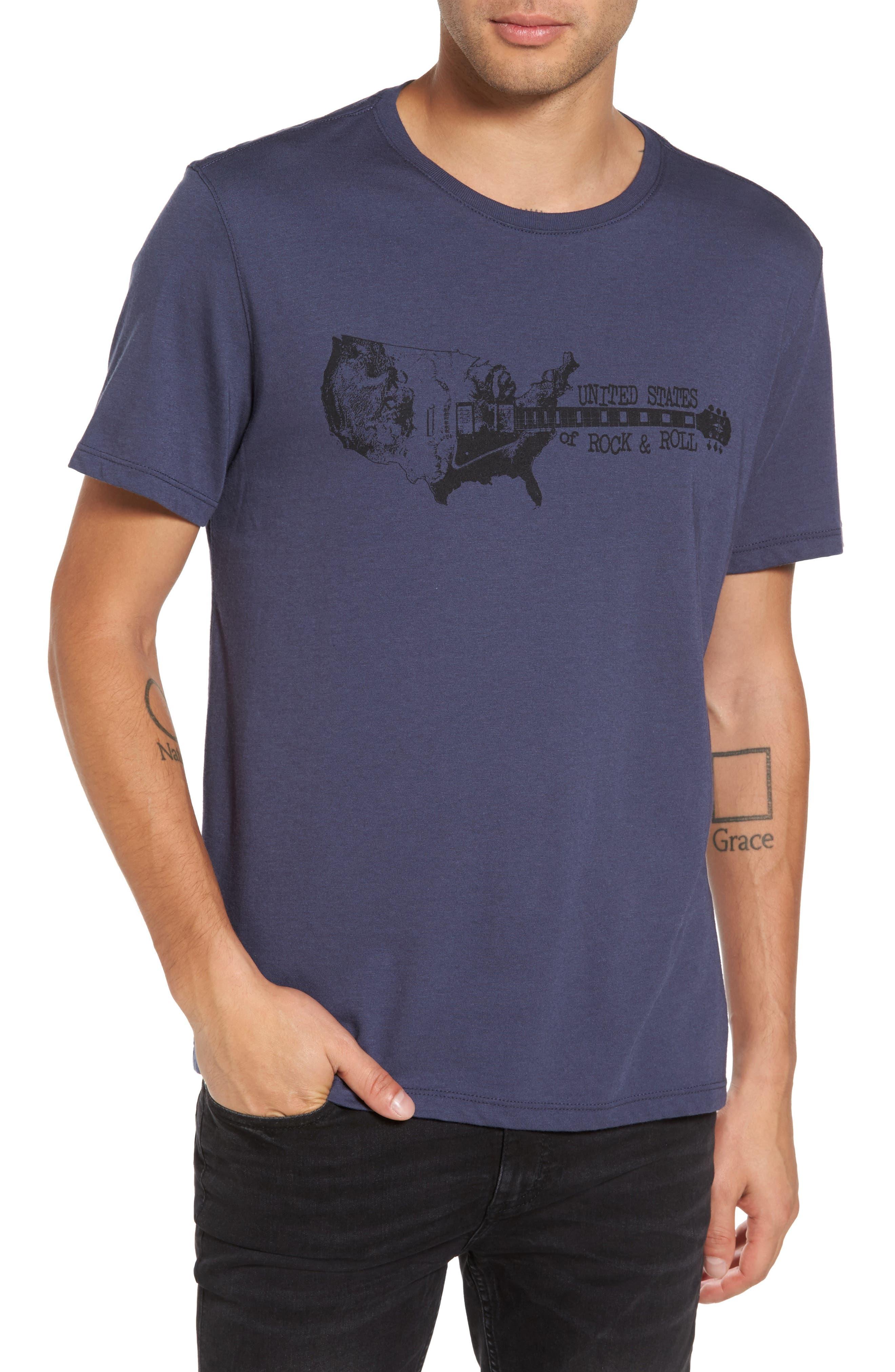 Guitar Stack Graphic T-Shirt,                             Main thumbnail 1, color,                             Twilight Blue
