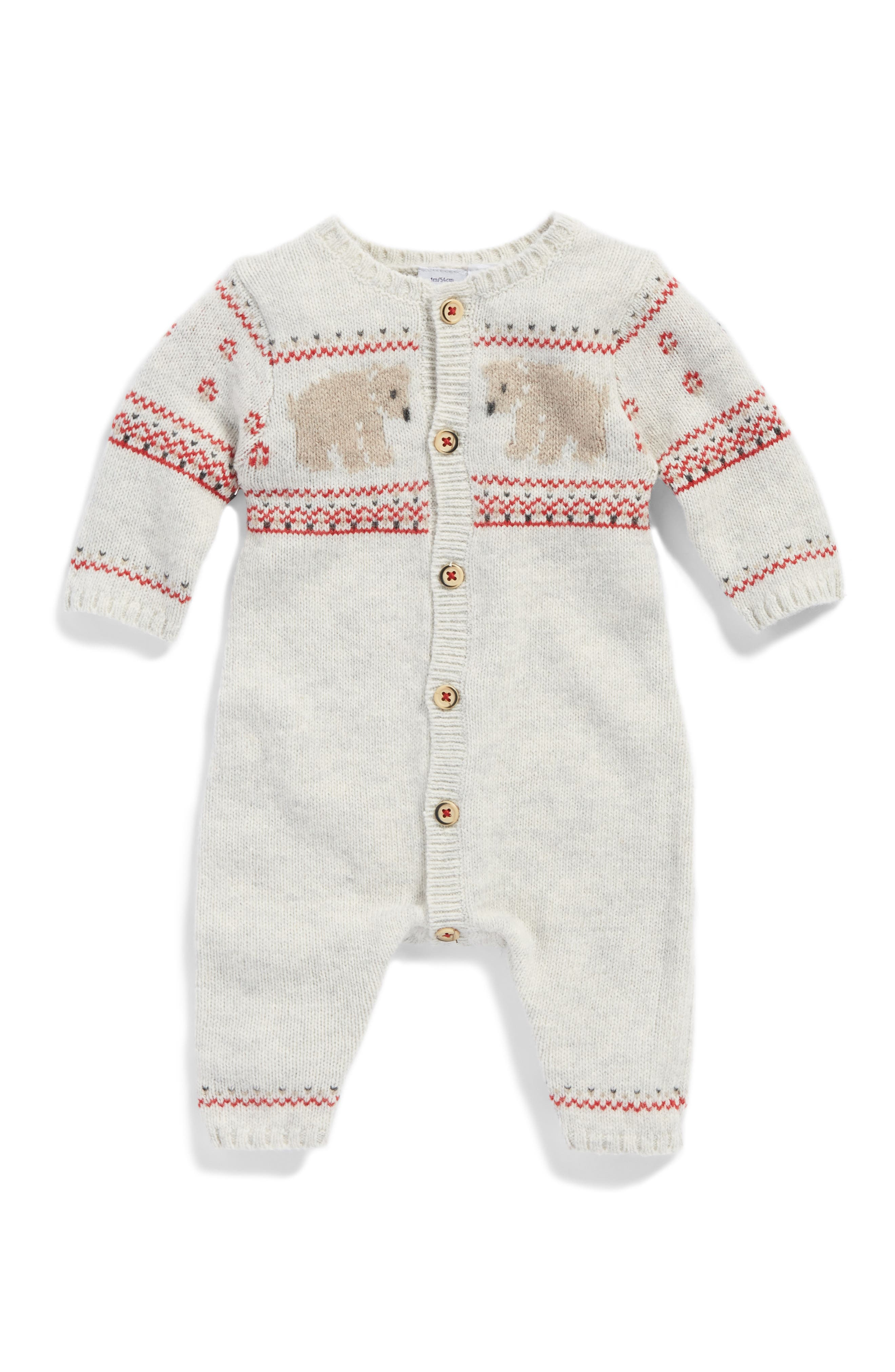 Main Image - Petit Bateau Jacquard Knit Romper (Baby)