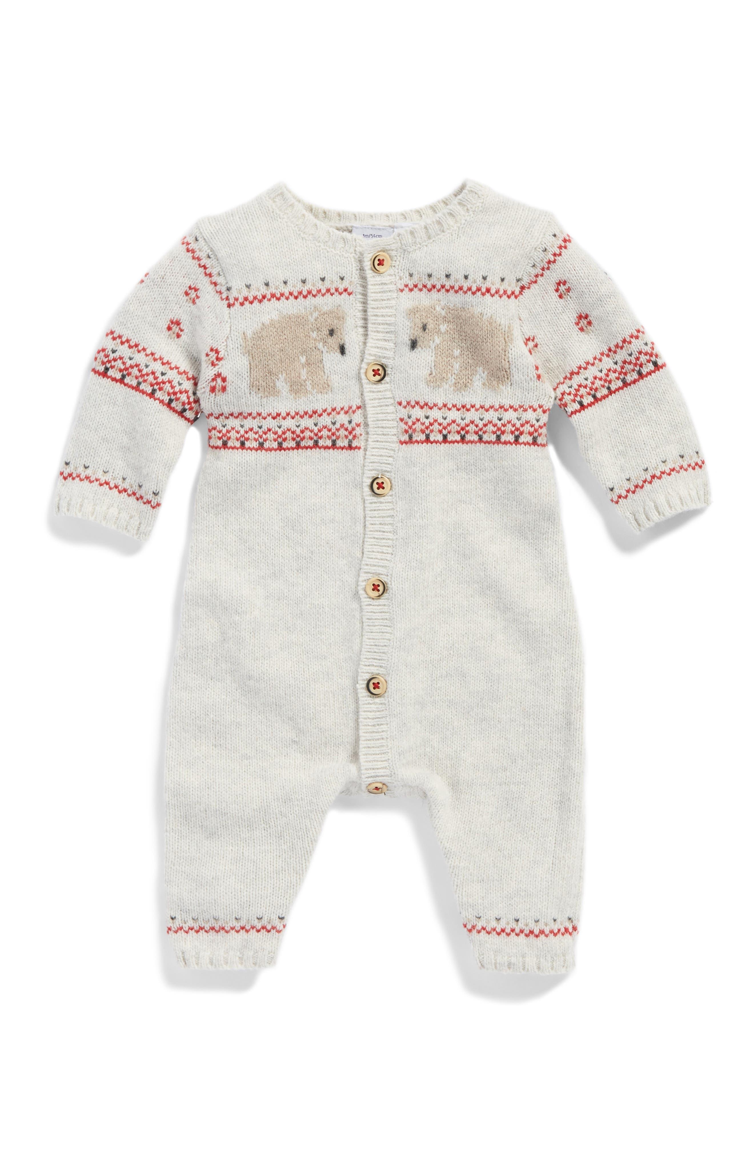 Petit Bateau Jacquard Knit Romper (Baby)