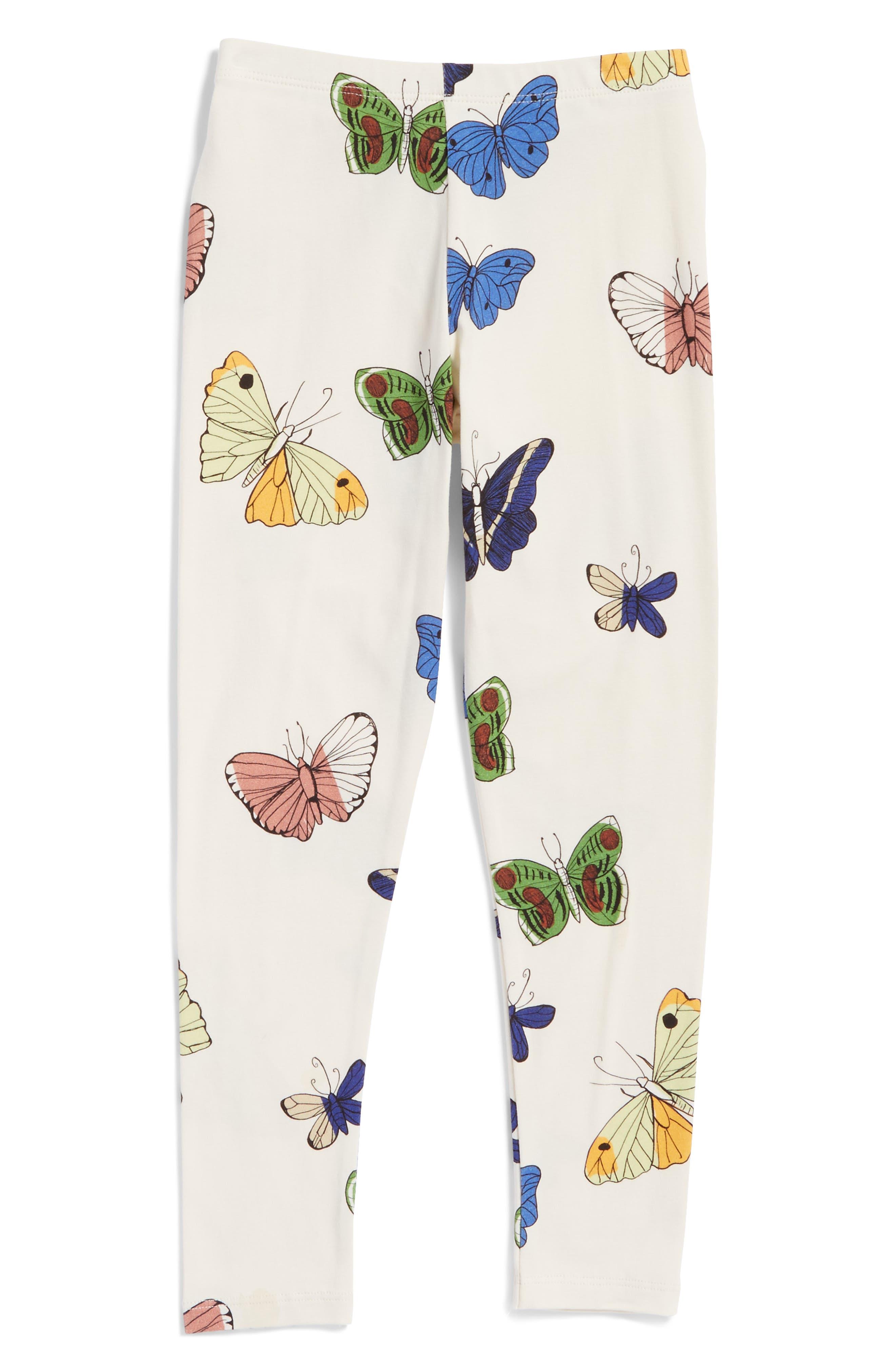 Butterflies Organic Cotton Leggings,                         Main,                         color, Off White