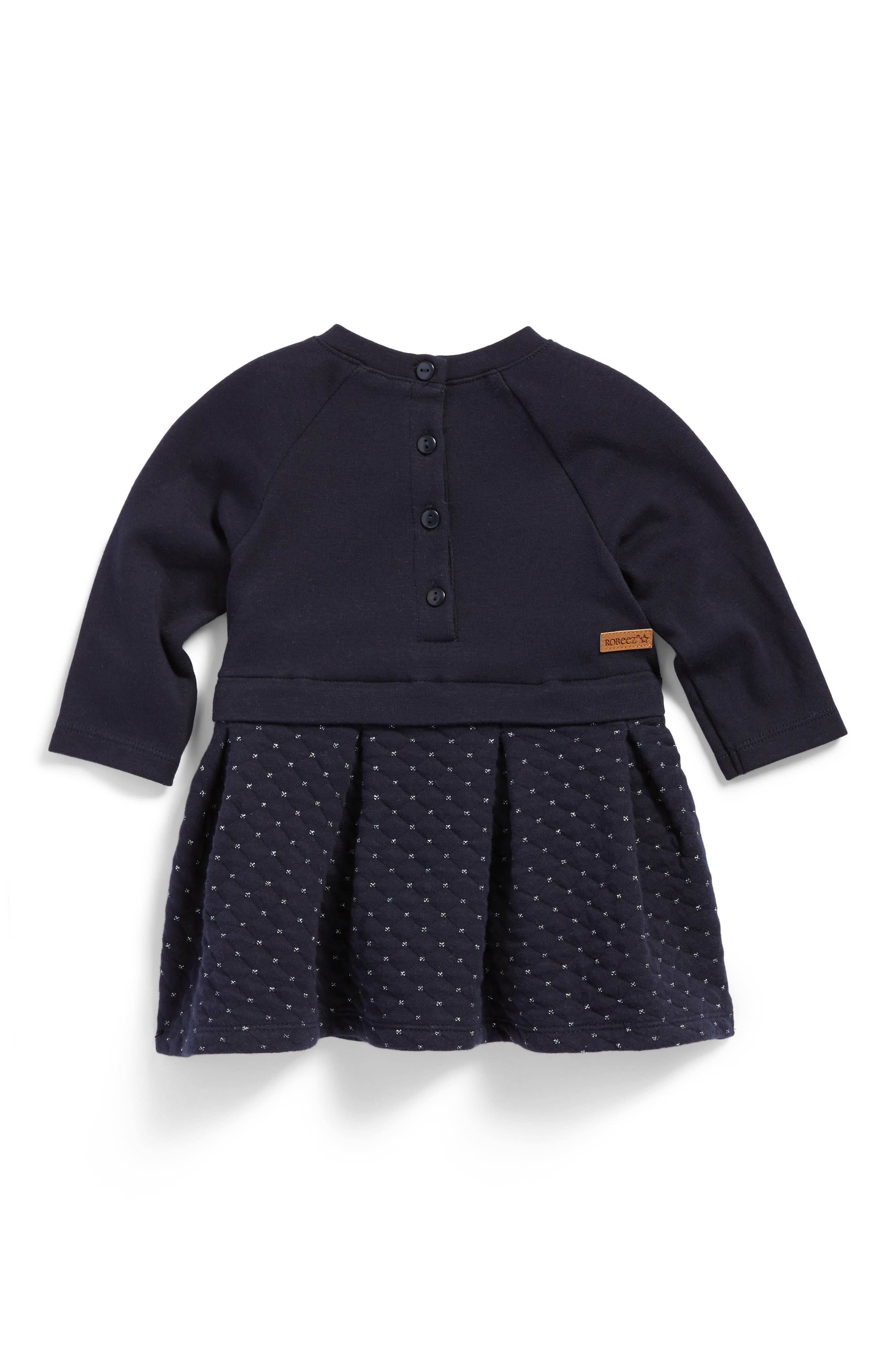 Alternate Image 2  - Robeez® Quilted Knit Dress (Baby Girls)