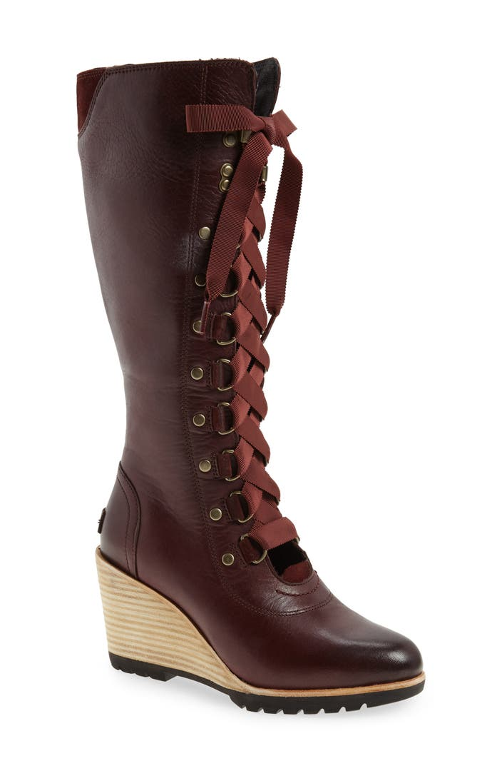 Sorel After Hours Lace Up Wedge Boot Nordstrom