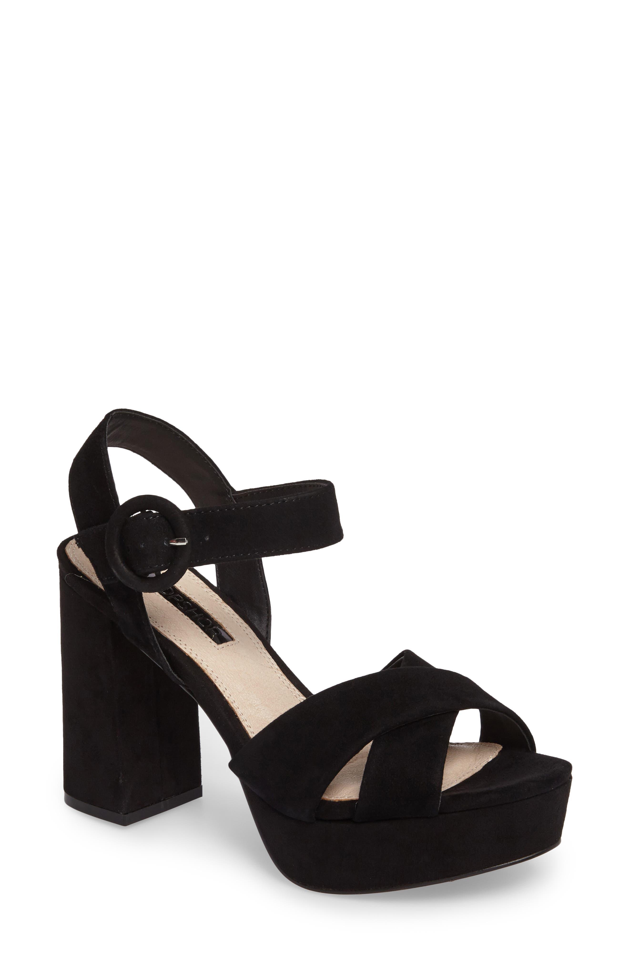 Alternate Image 1 Selected - Topshop Cross Strap Platform Sandal (Women)