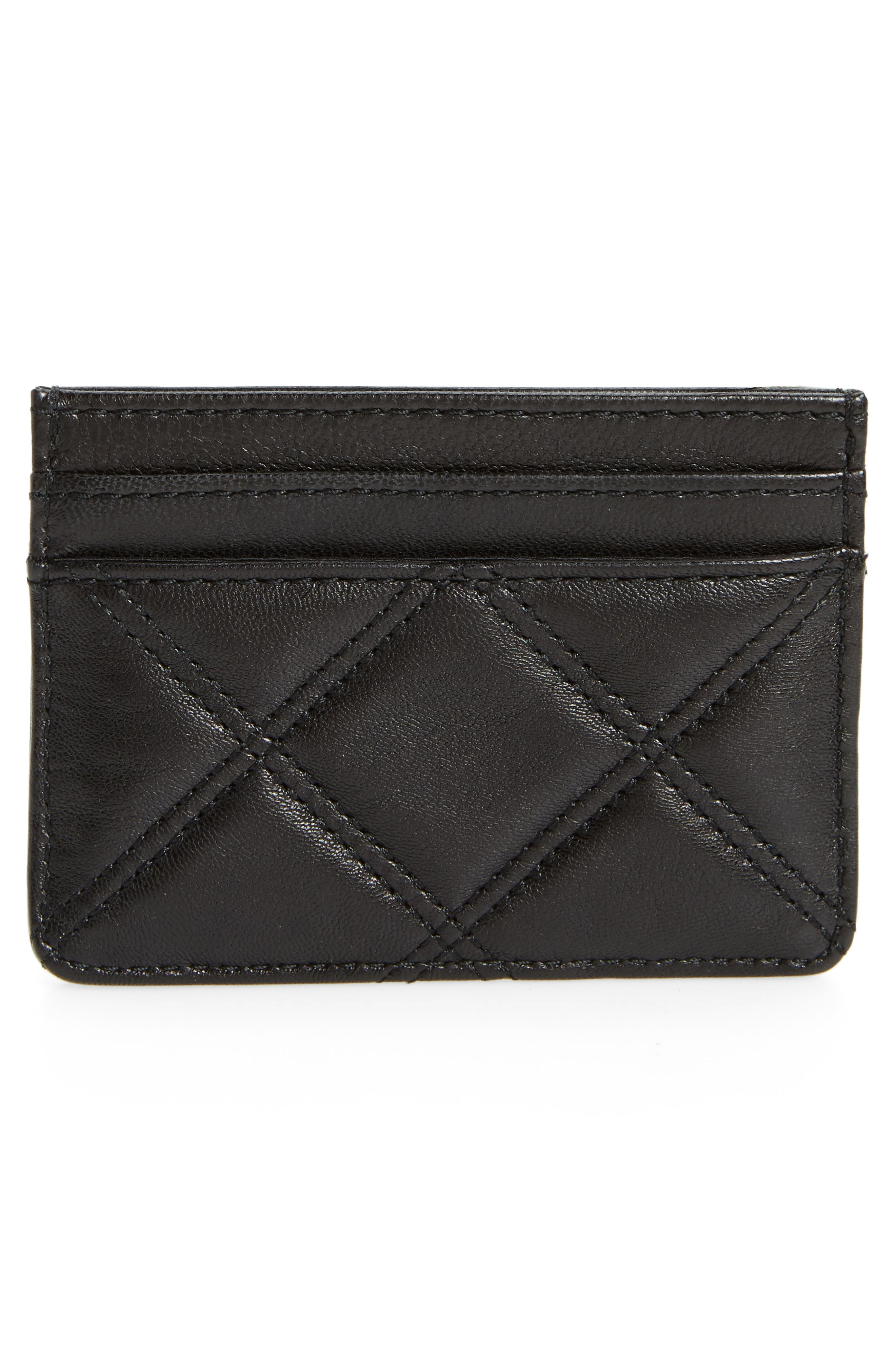 Quilted Leather Card Case,                             Alternate thumbnail 2, color,                             Black
