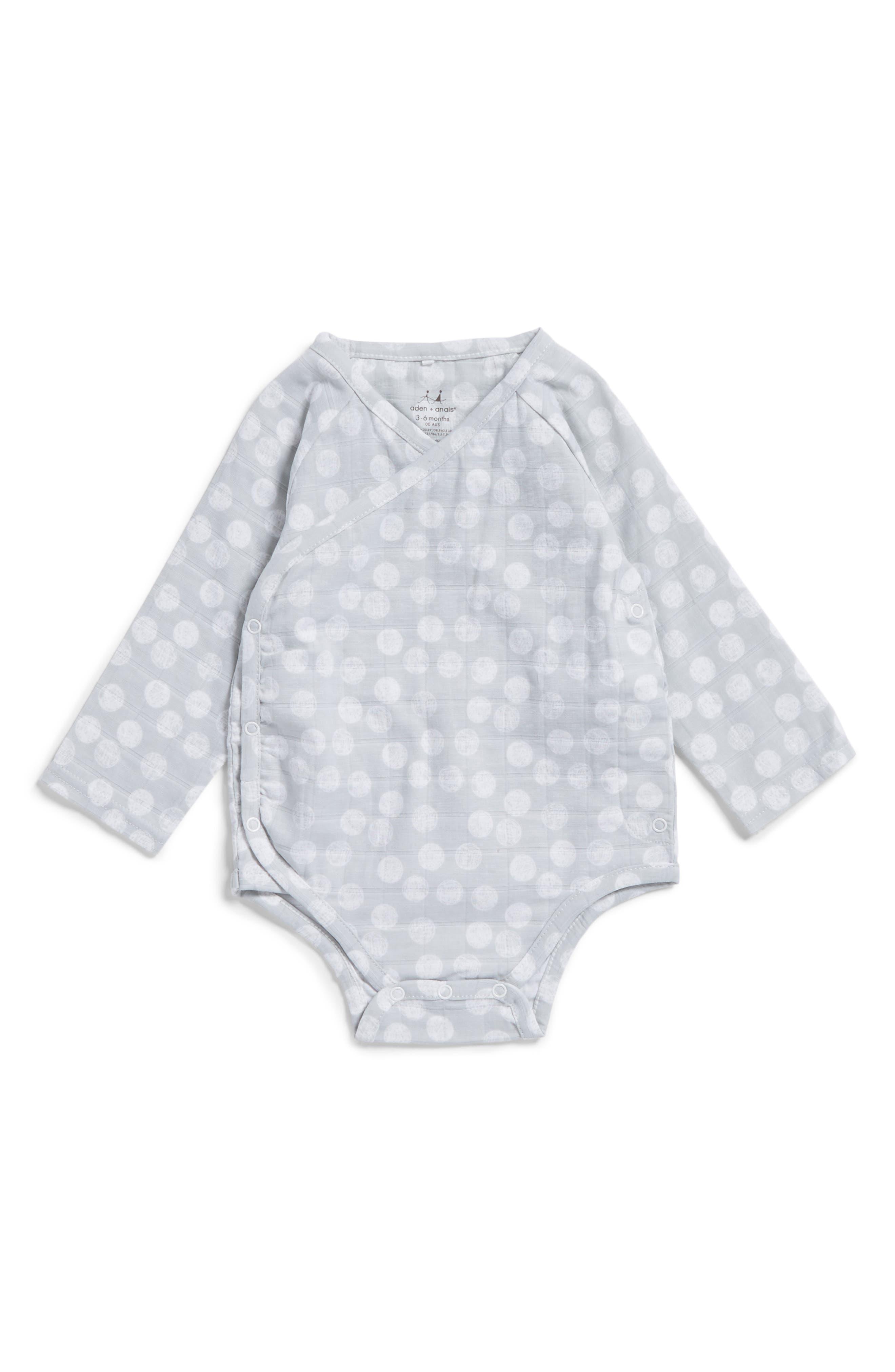 aden + anais Long Sleeve Kimono Bodysuit (Baby Boys)
