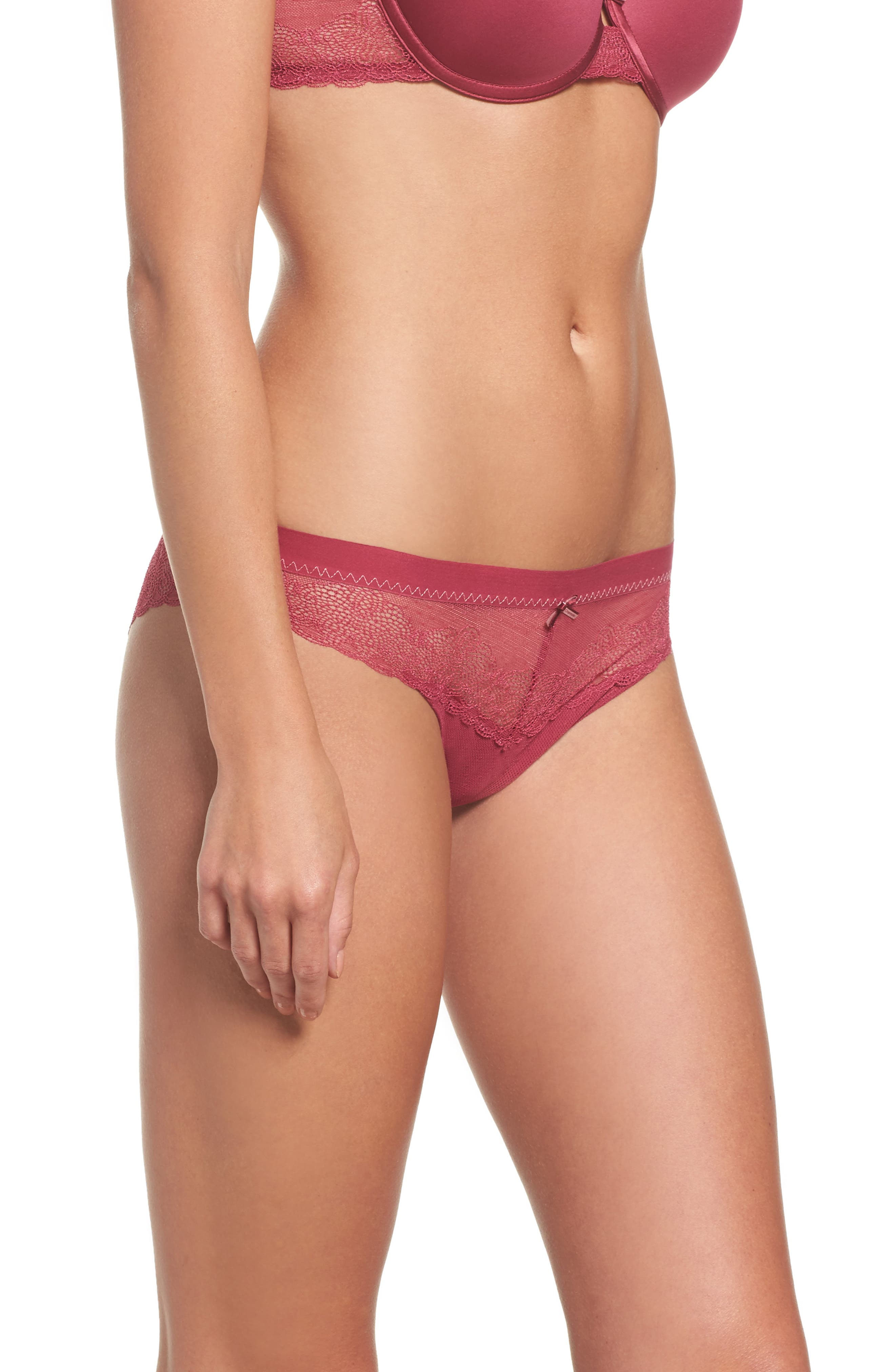 Le Marais Lace Cheeky Bikini,                             Alternate thumbnail 3, color,                             Cranberry