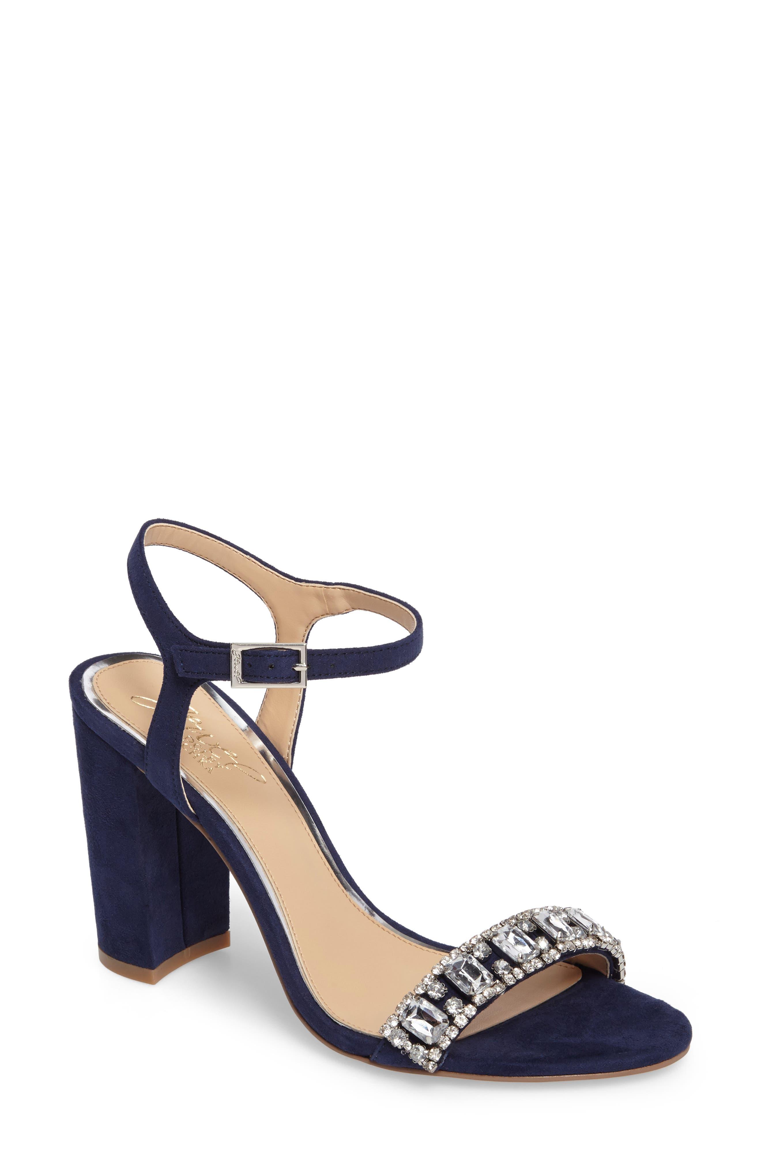 Hendricks Embellished Block Heel Sandal,                             Main thumbnail 1, color,                             Navy Suede