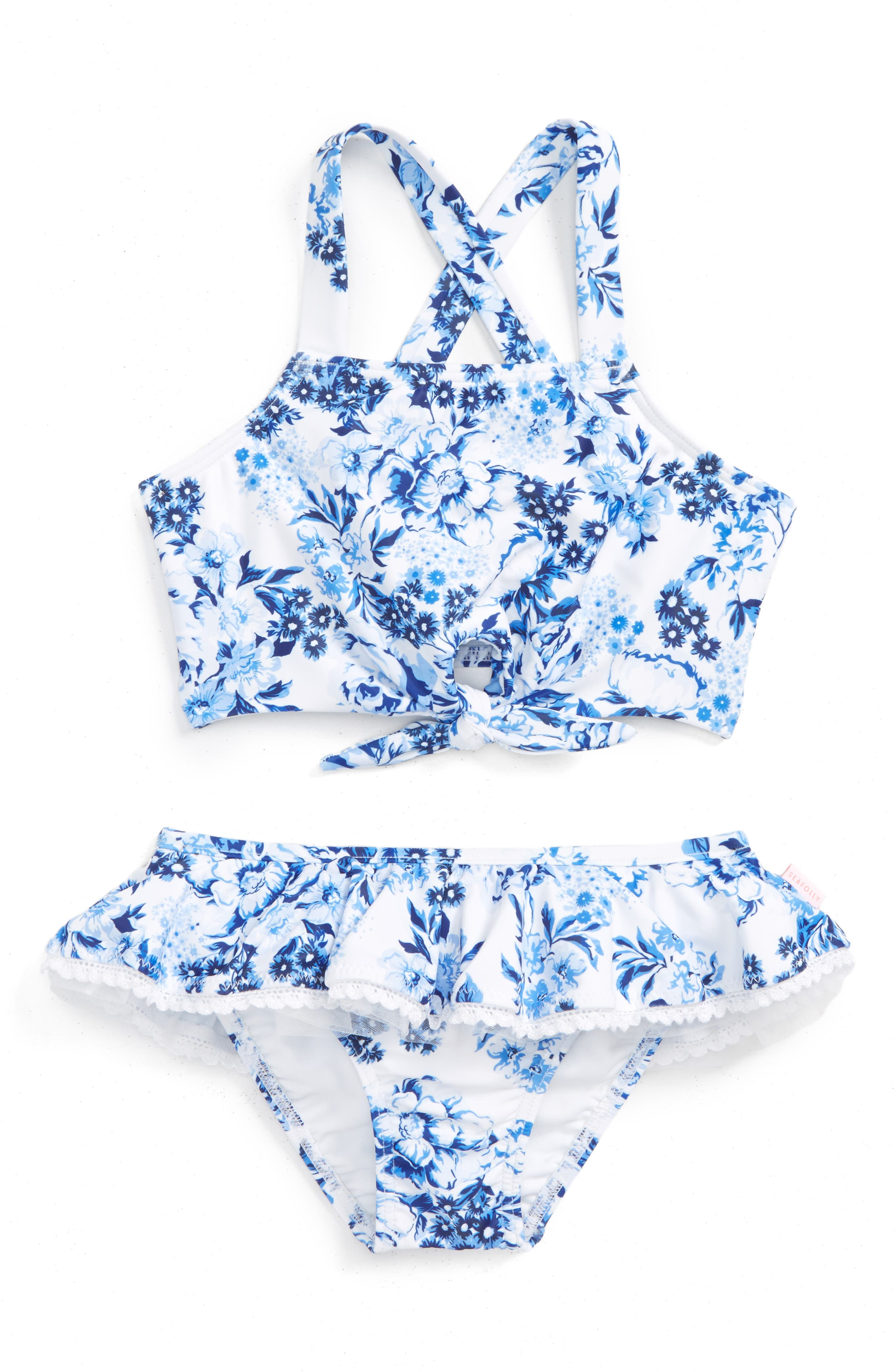Forget Me Not Tankini Two-Piece Swimsuit,                         Main,                         color, China Blue