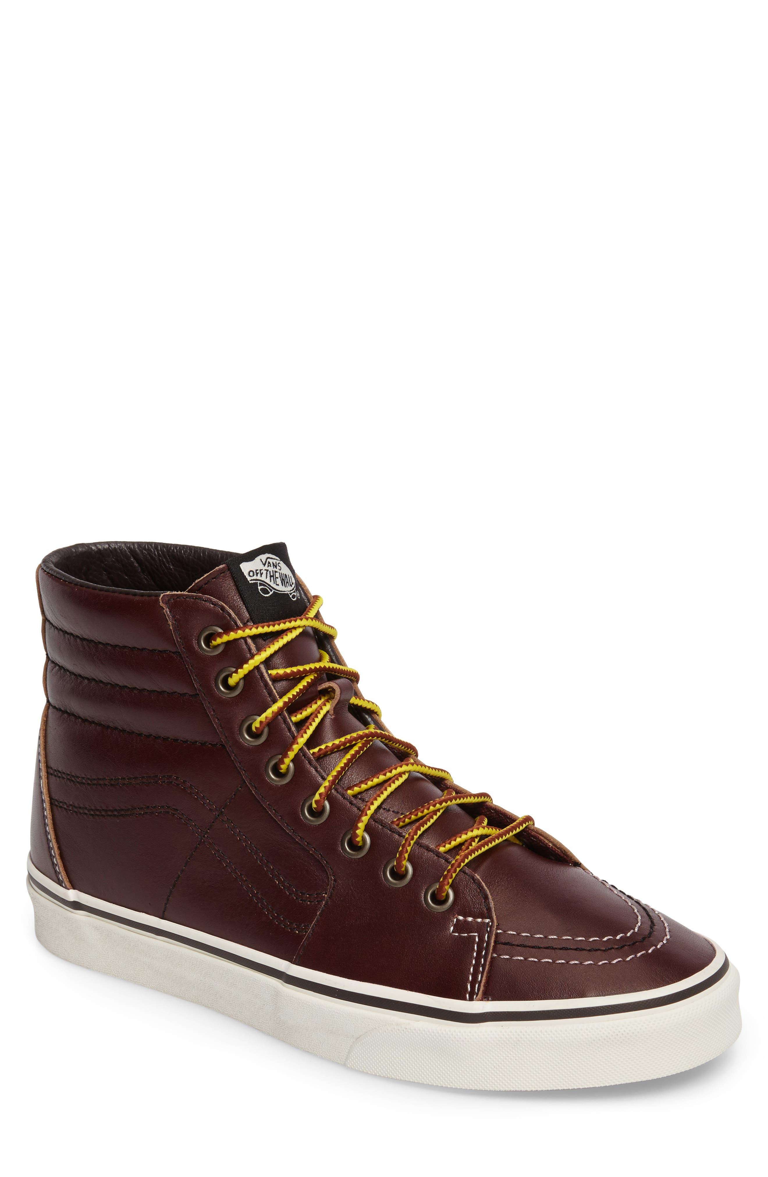Sk8-Hi Sneaker,                             Main thumbnail 1, color,                             Rum Raisin/Marshmallow Leather