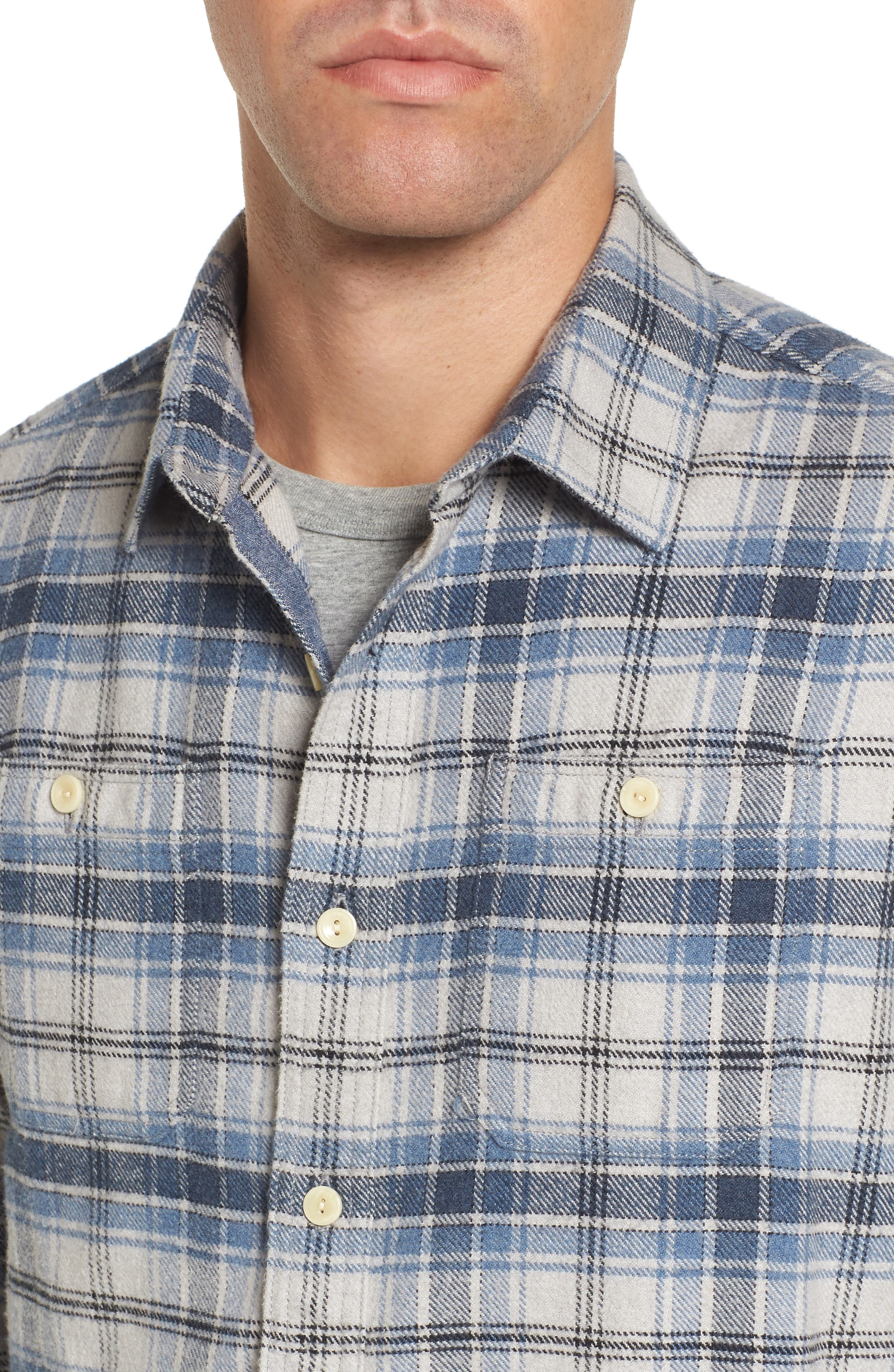 Campton Heritage Plaid Flannel Shirt,                             Alternate thumbnail 4, color,                             Blue Stone
