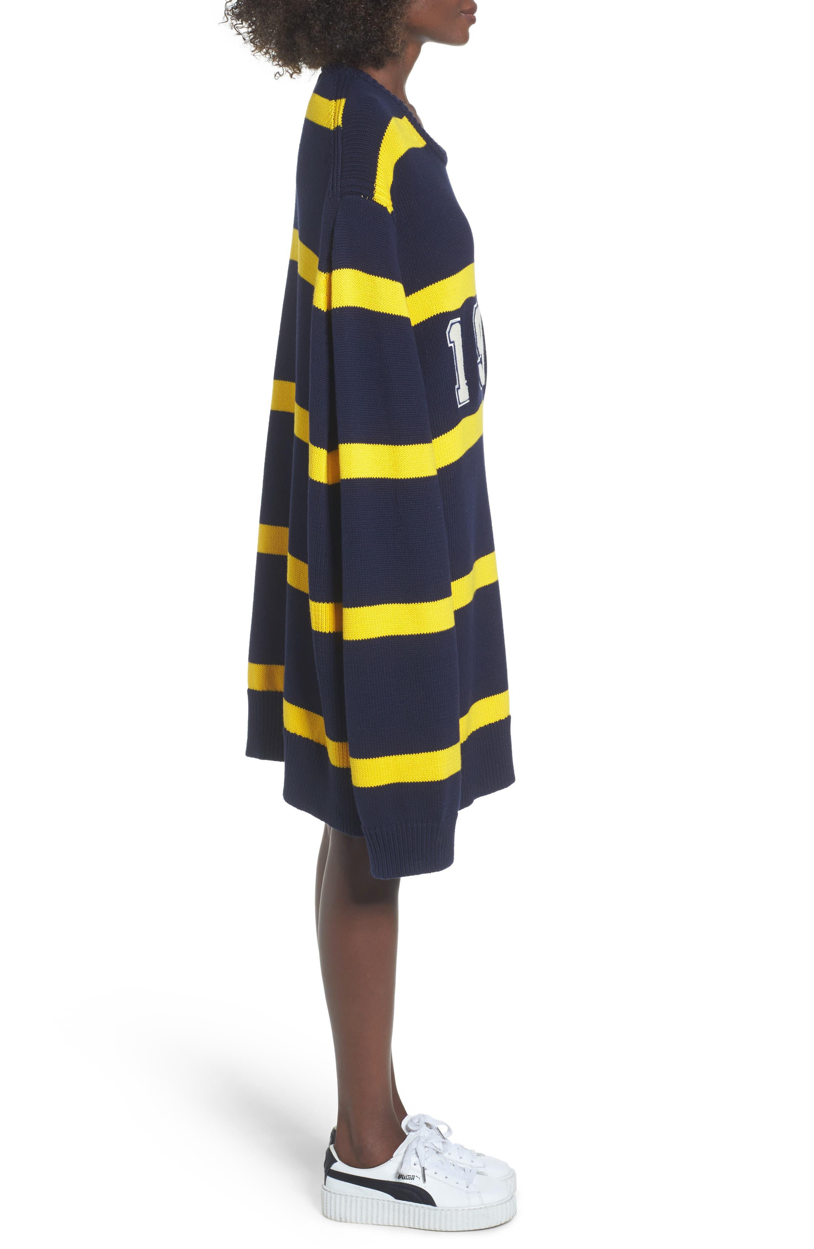 PUMA by Rihanna Longline Stripe Sweater,                             Alternate thumbnail 3, color,                             Navy/ Yellow Stripe