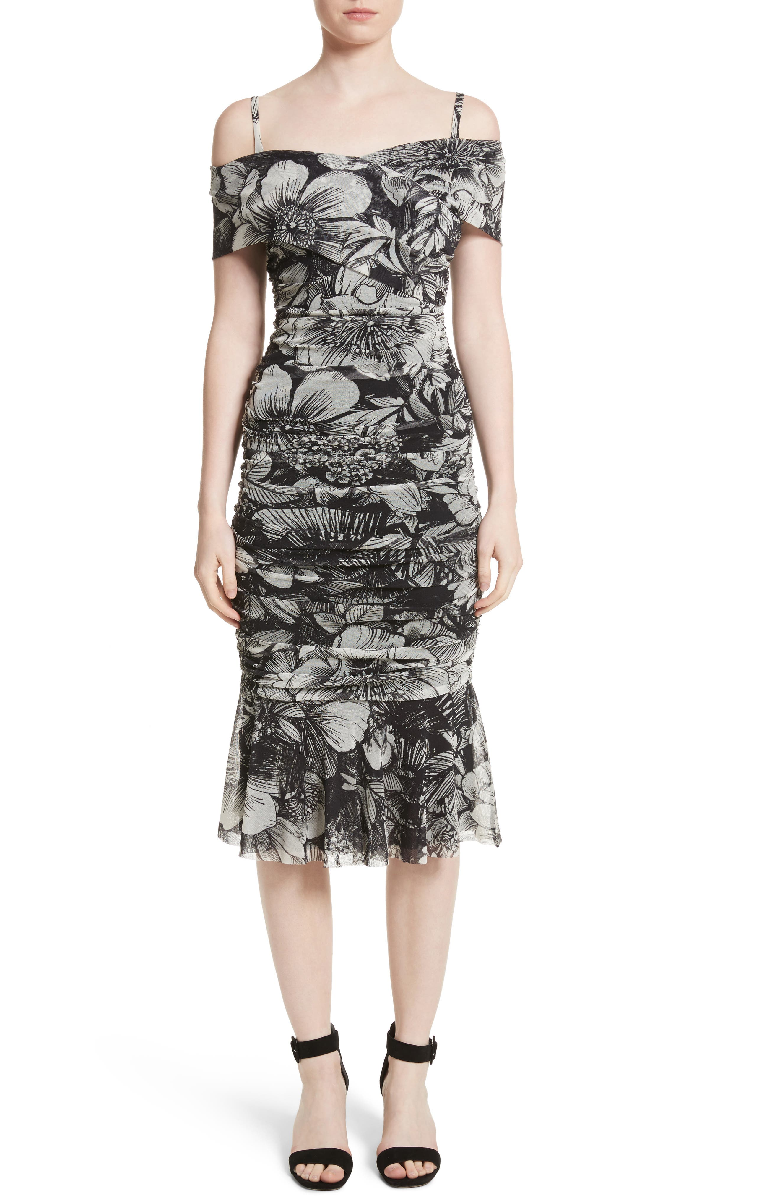 Fuzzi Print Tulle Ruched Off the Shoulder Dress
