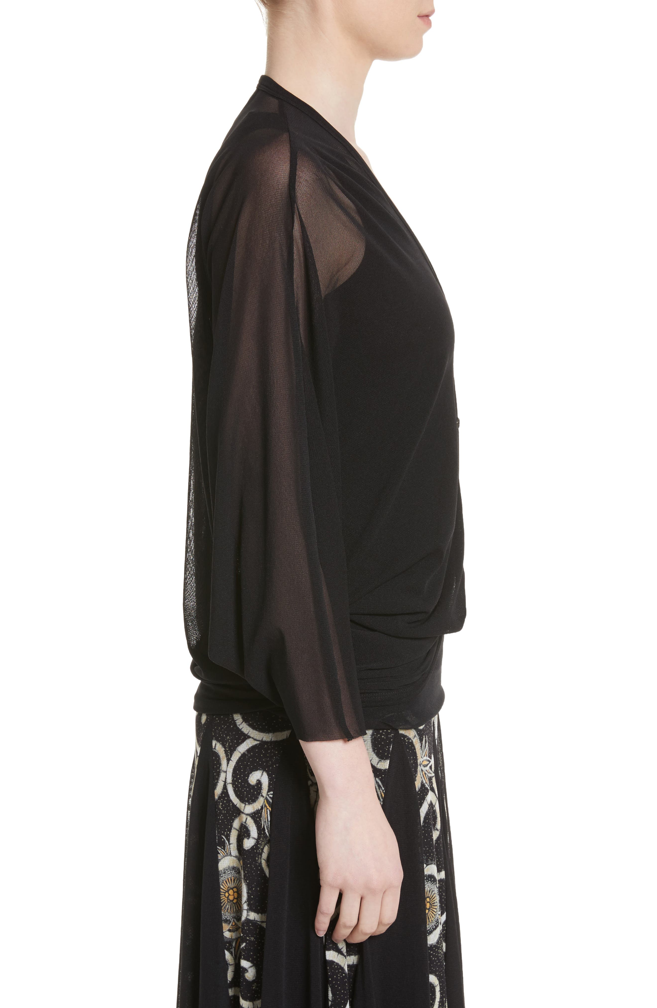 Tulle Cocoon Cardigan,                             Alternate thumbnail 3, color,                             Nero