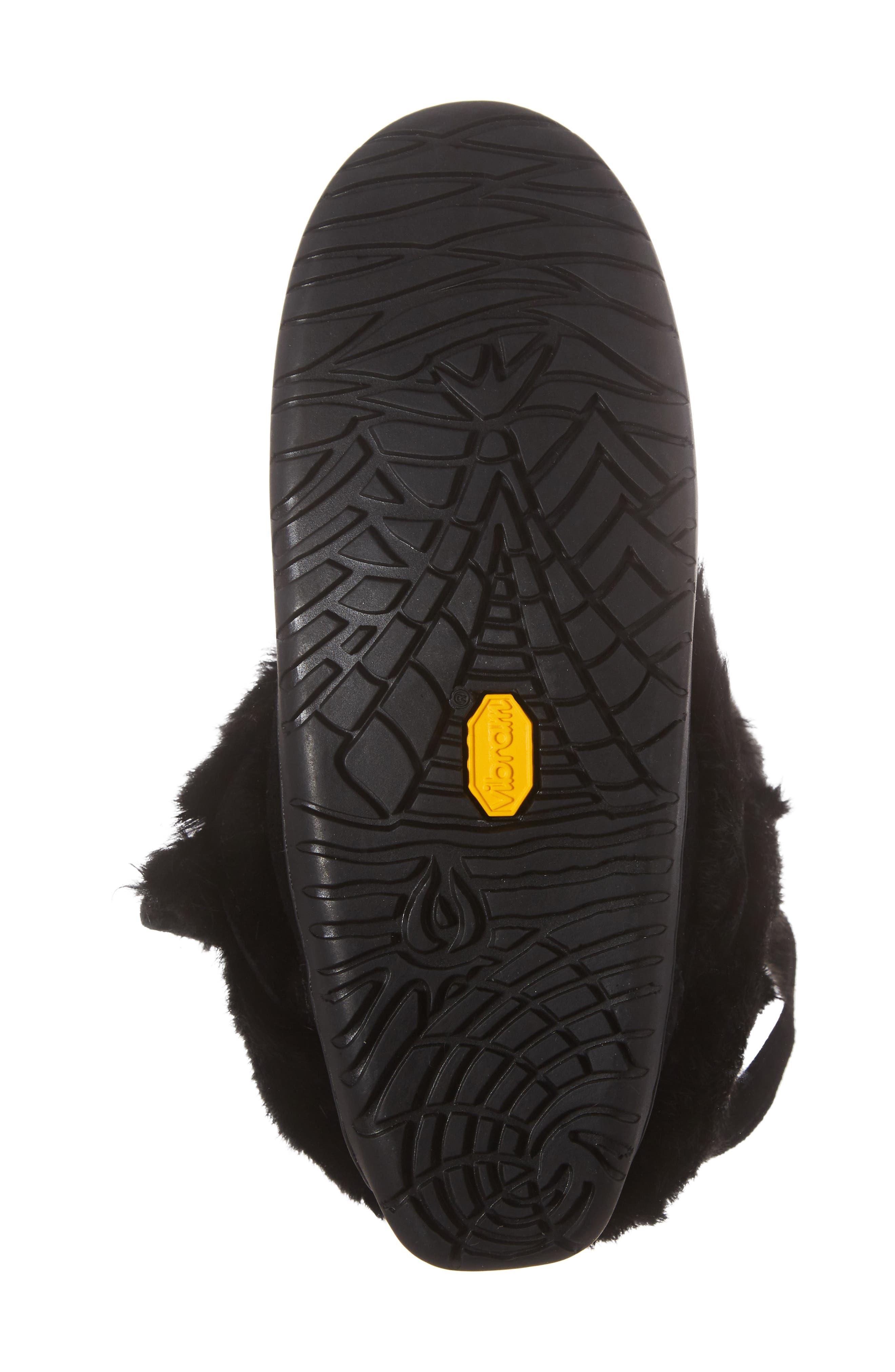 Beaded Short Wrap Genuine Rabbit Fur & Shearling Boot,                             Alternate thumbnail 5, color,                             Black Rabbit Fur