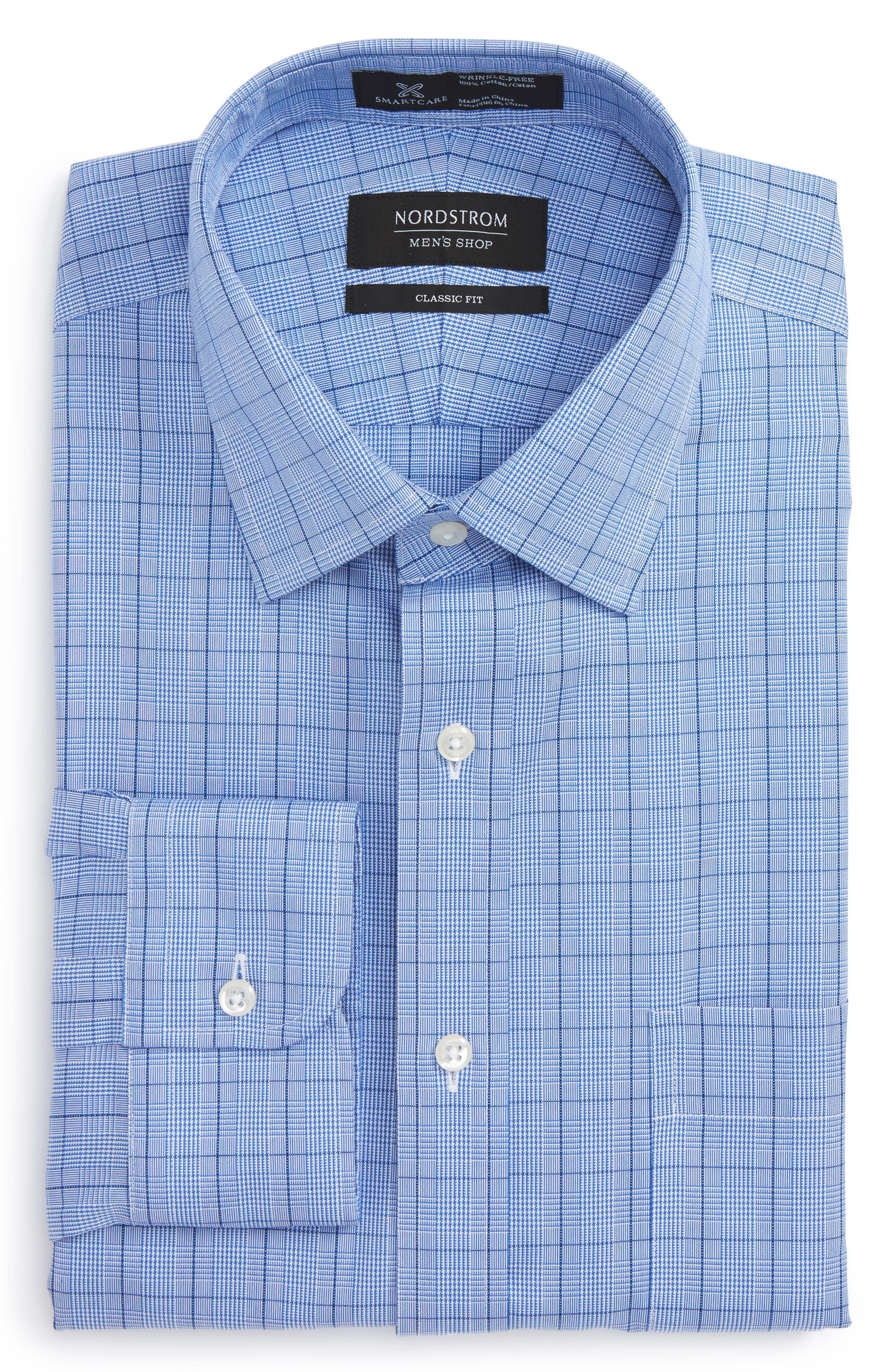 Smartcare<sup>™</sup> Classic Fit Windowpane Dress Shirt,                         Main,                         color, Blue Estate