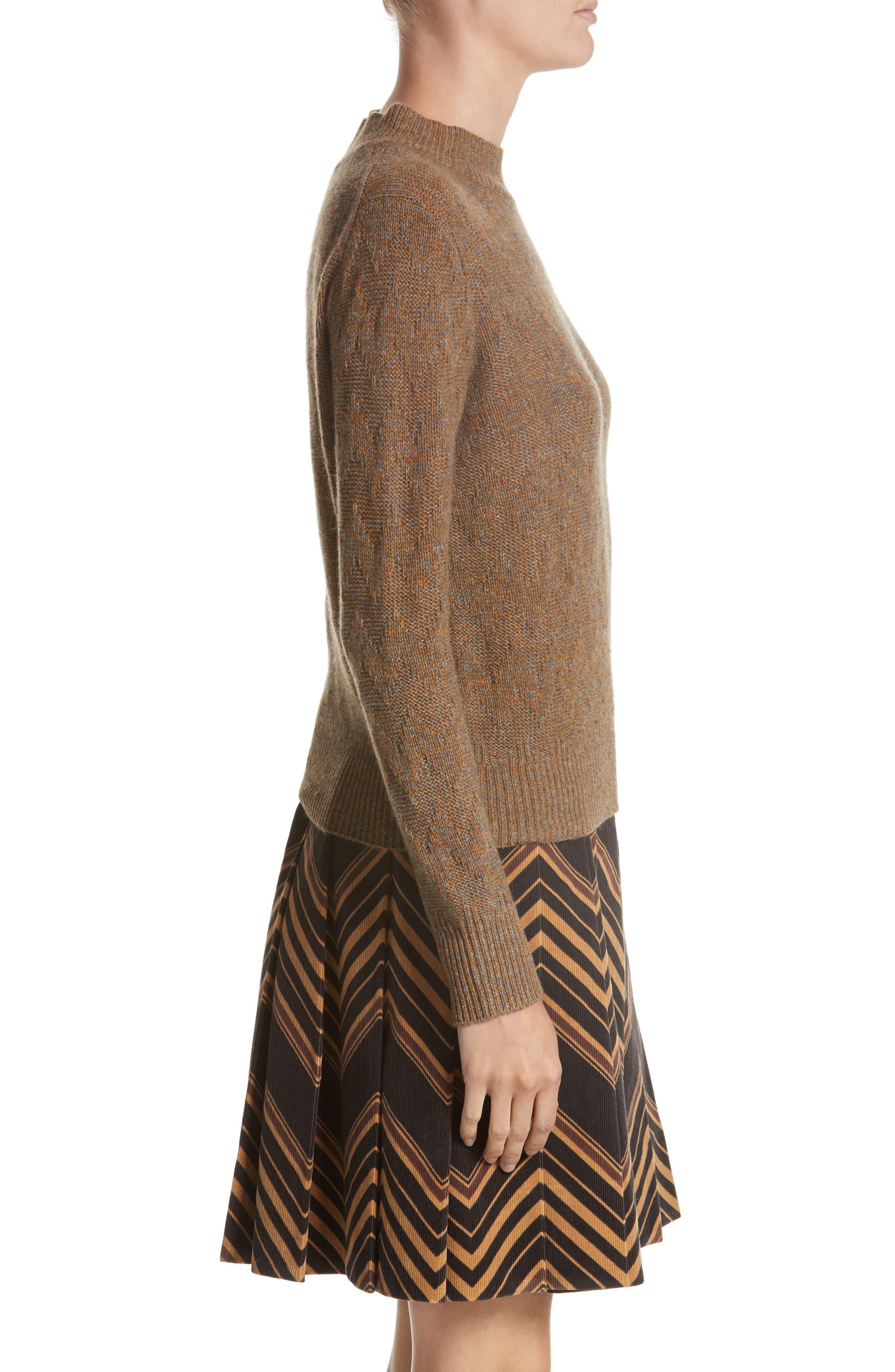 Chevron Knit Cashmere Sweater,                             Alternate thumbnail 3, color,                             Brown